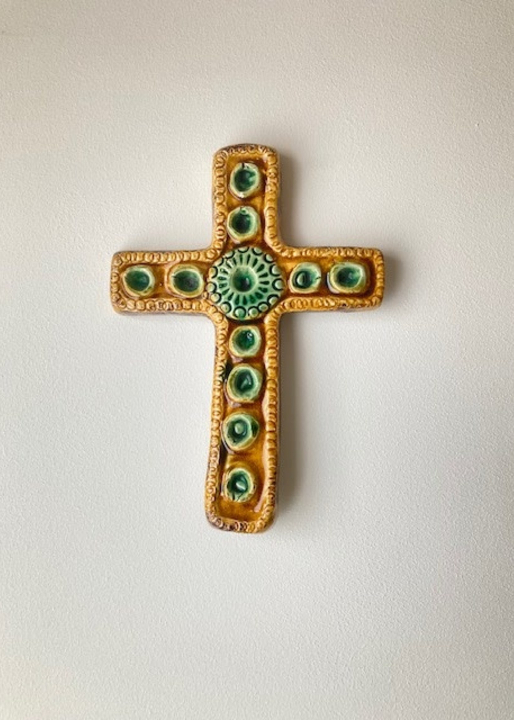 Seventies Ceramic Cross in yellow and green