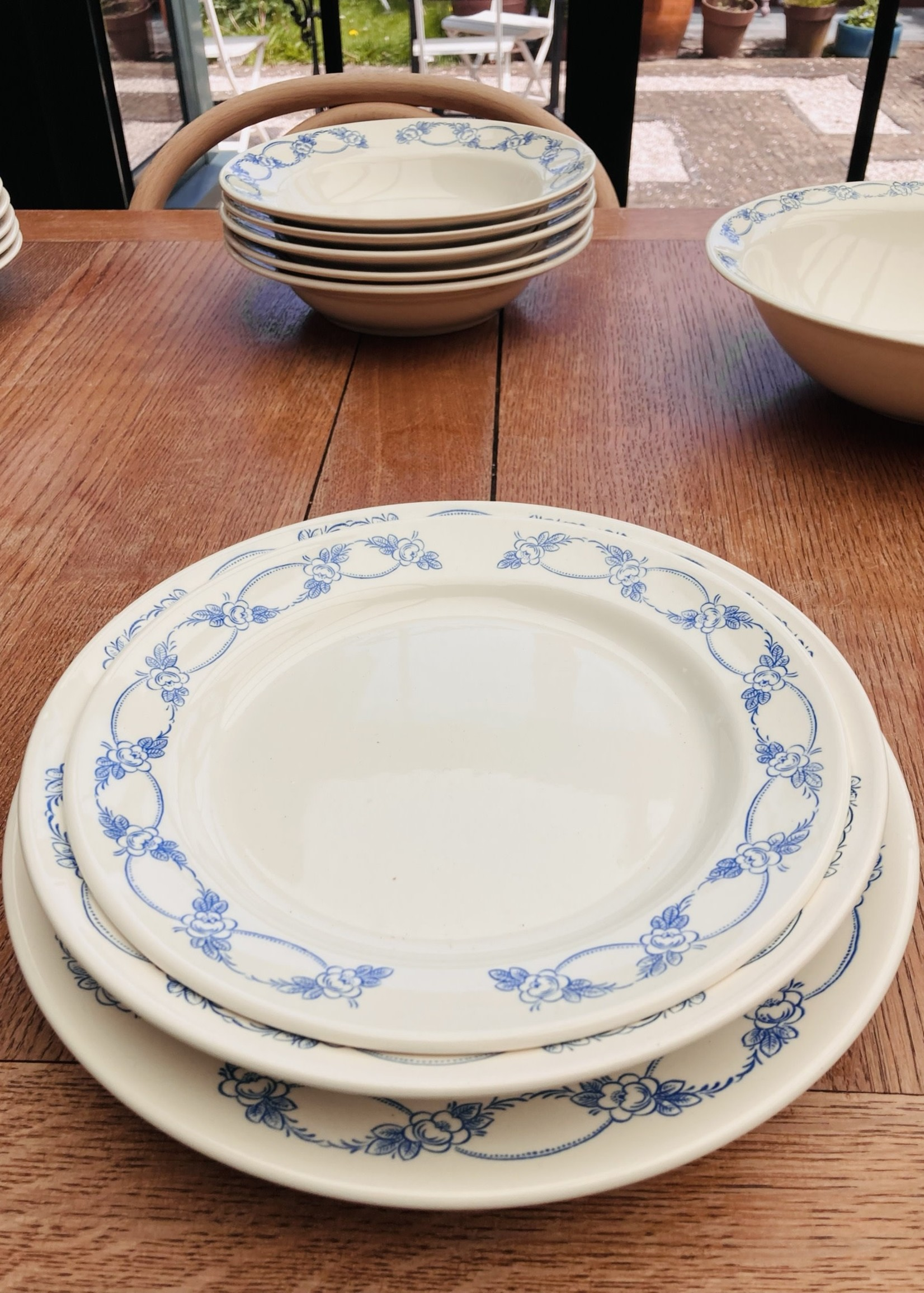 Large plates With blue flowers on border - No brand