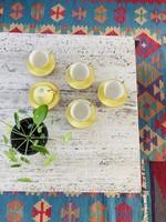 Boch yellow Coffeecups with golden border
