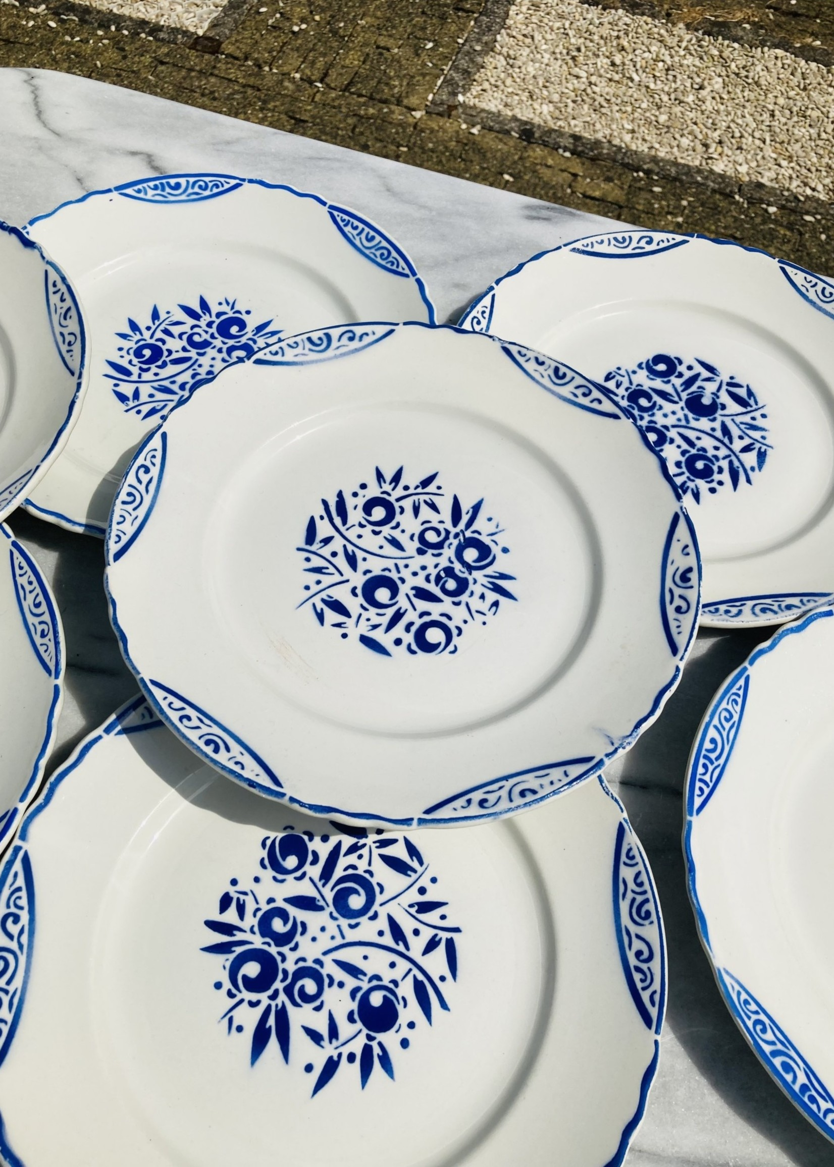 Large porcerame  plates with blue grape decor and lines on border from Francois