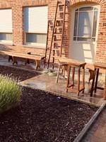 industrial wooden reddish ladder Large