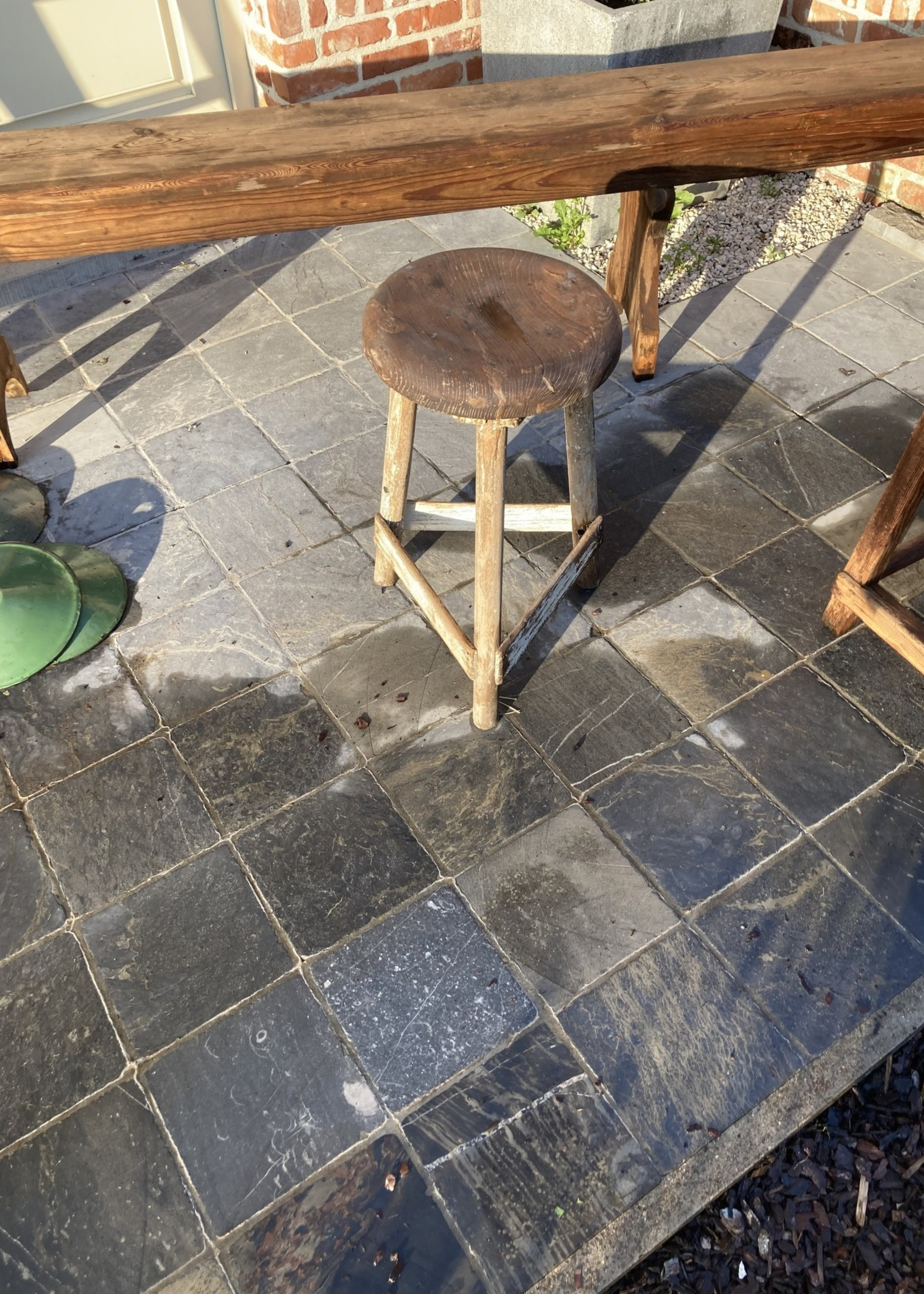 Small industrial  stool with white patina from textile industry