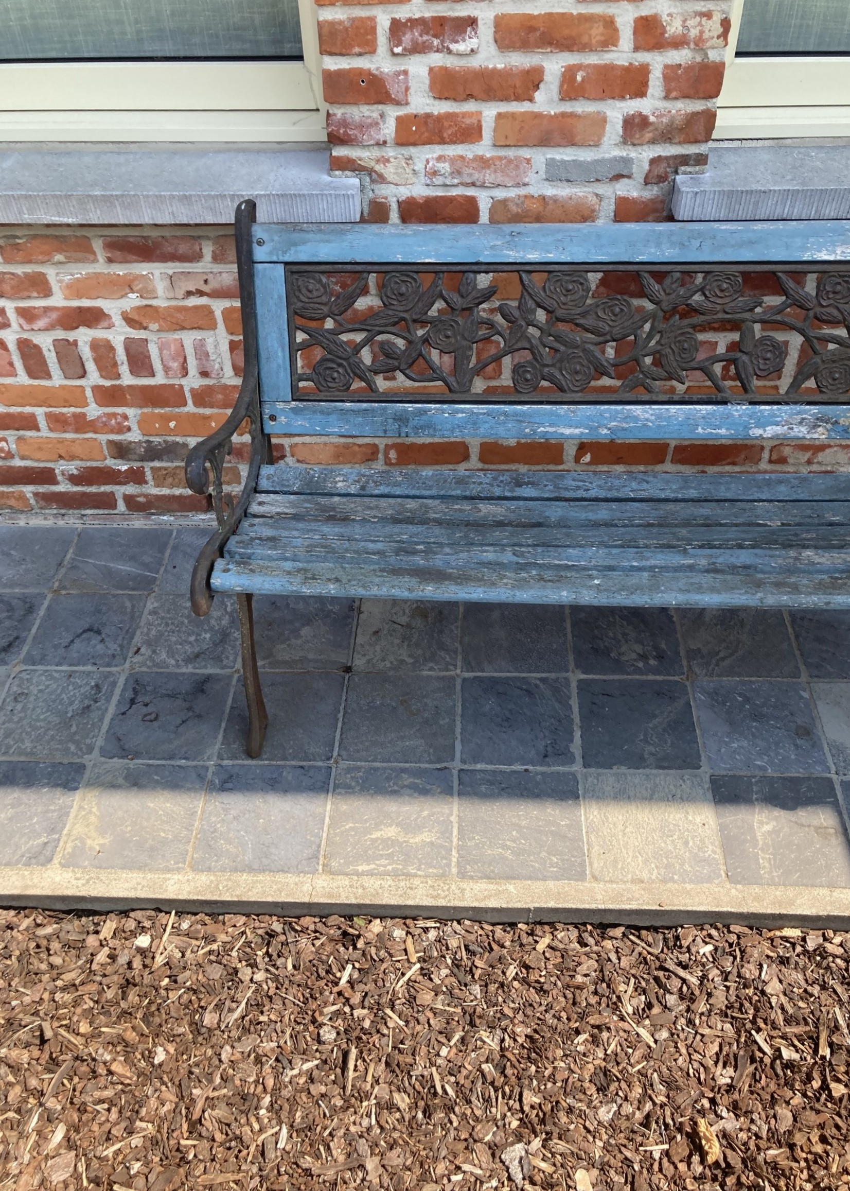 Garden bench blue patinated wood and forged feet