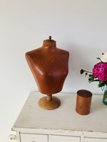 Antique Table buste in hard foam  with leather look and wooden base