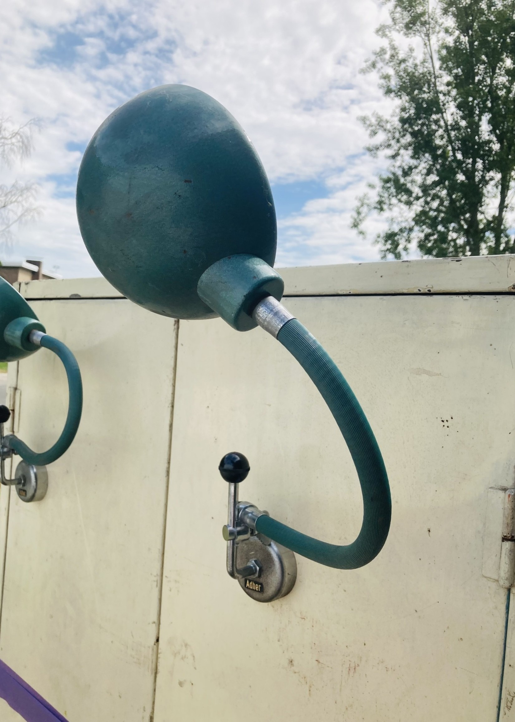 Duo of antique  industrial wall lamps with magnet