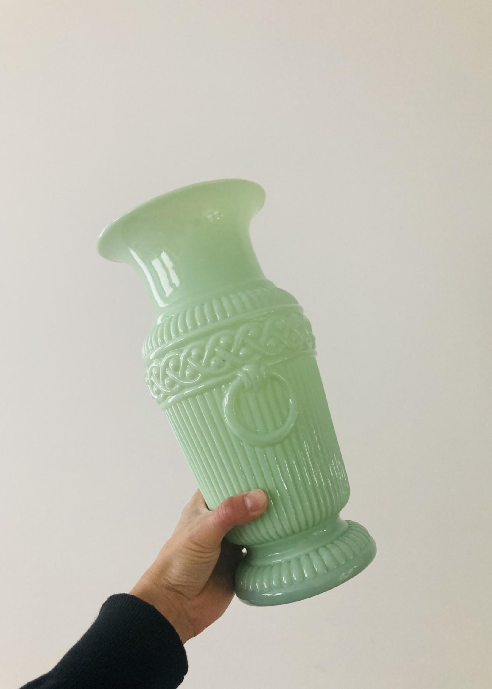 Opaline light green antique vase 30cm