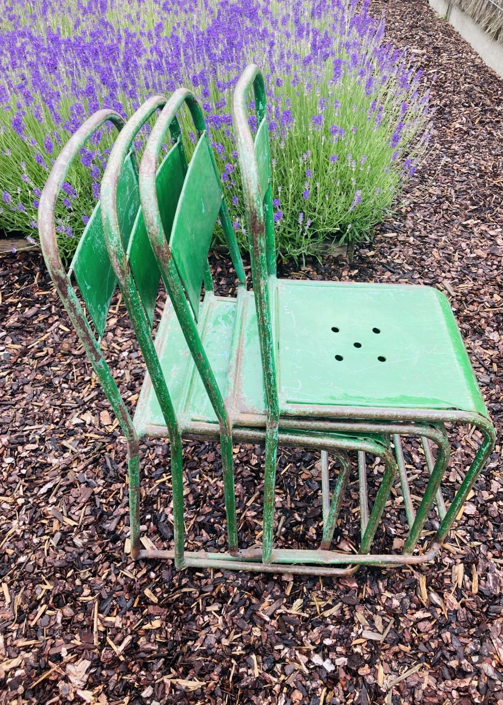 Outdoor Metal chair with green and turkoon patina