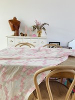 Tablecloth in white linnen with pink and grey embroidery