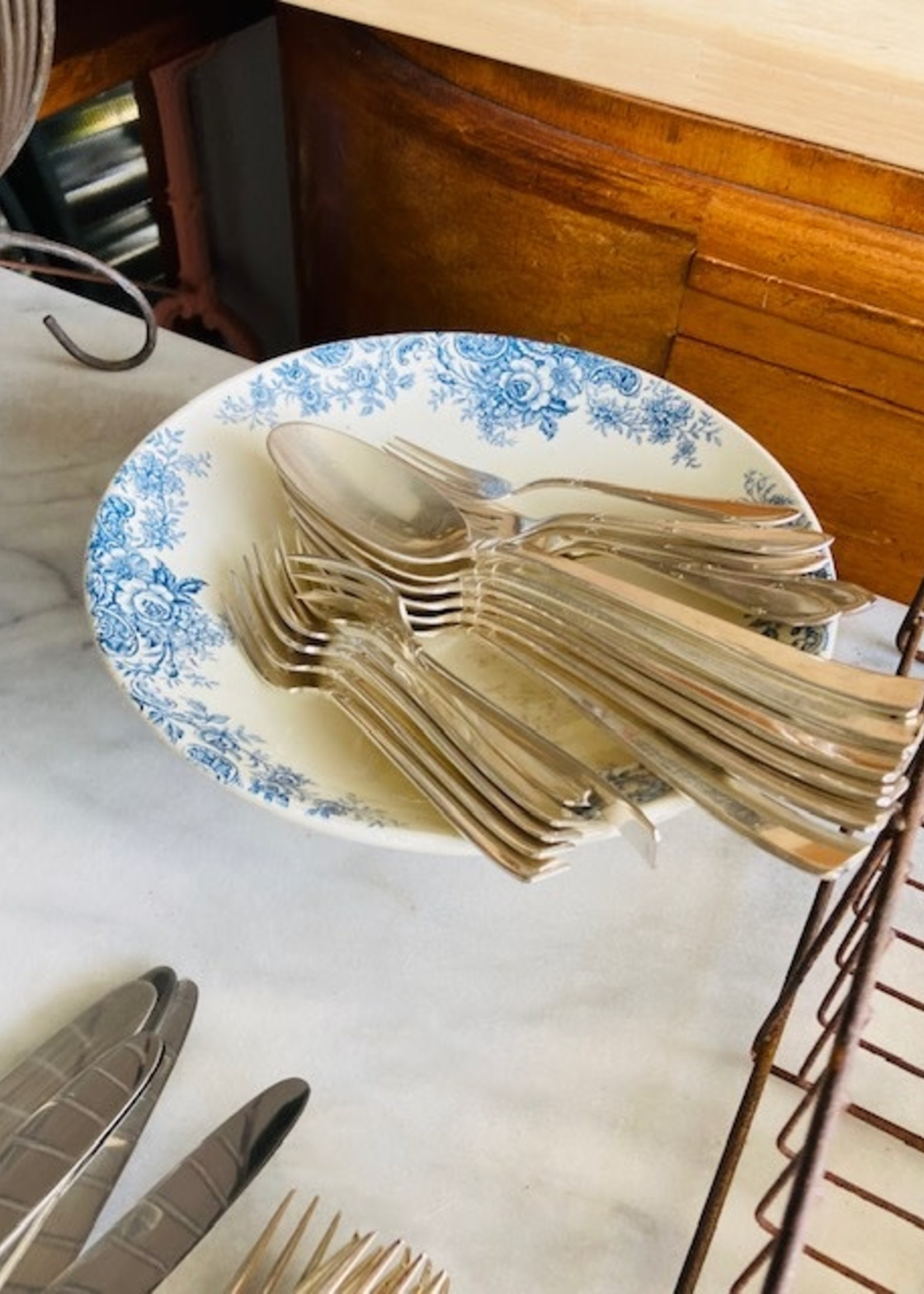 Classical silver plated dessert forks, set of 6