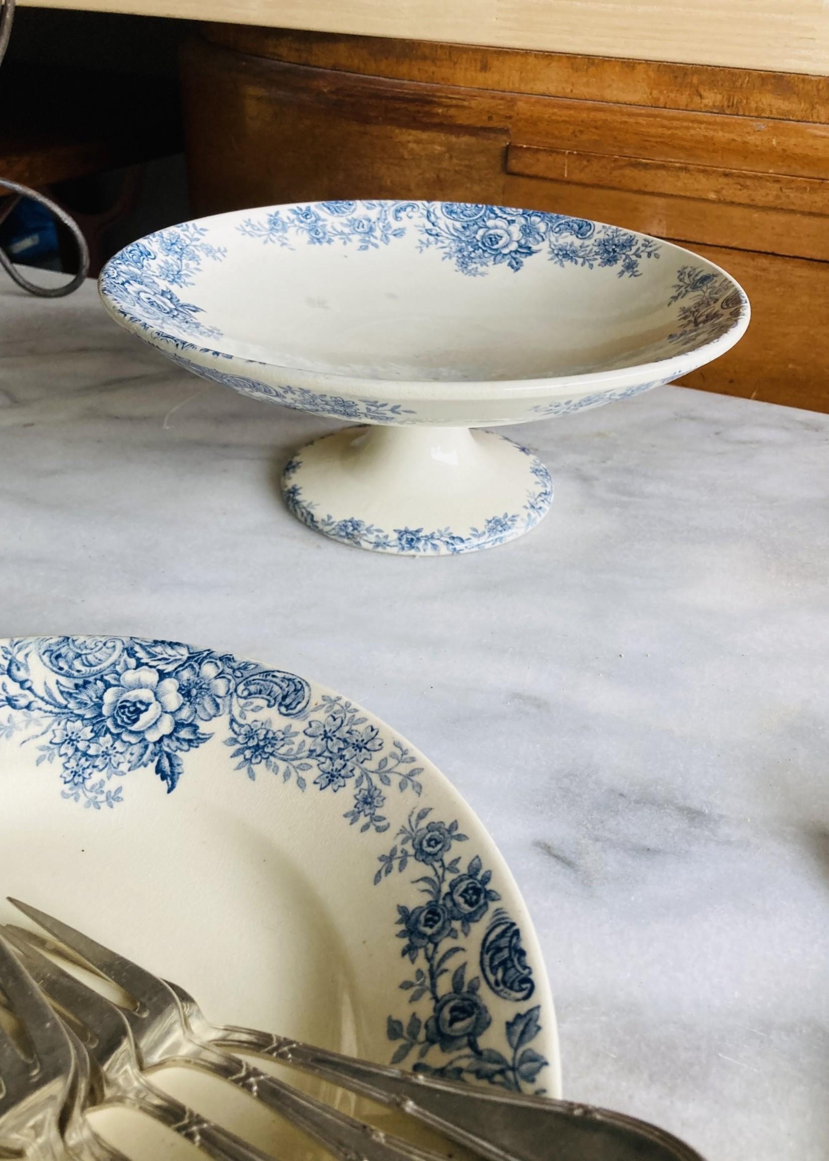 Ceramic Compotier with blue decoration model Lucette