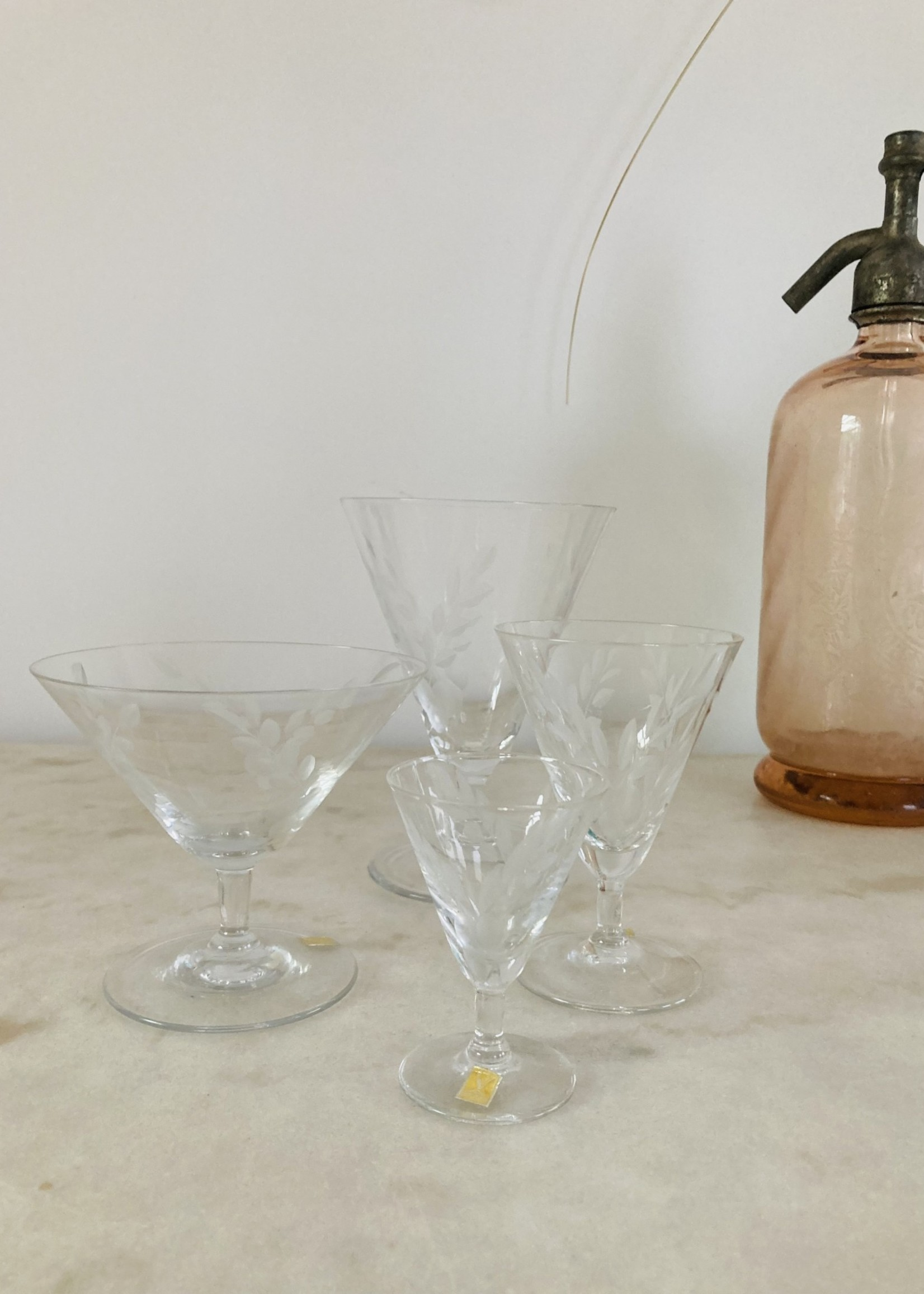 VB Carved crystal conic Waterglasses from Boussu