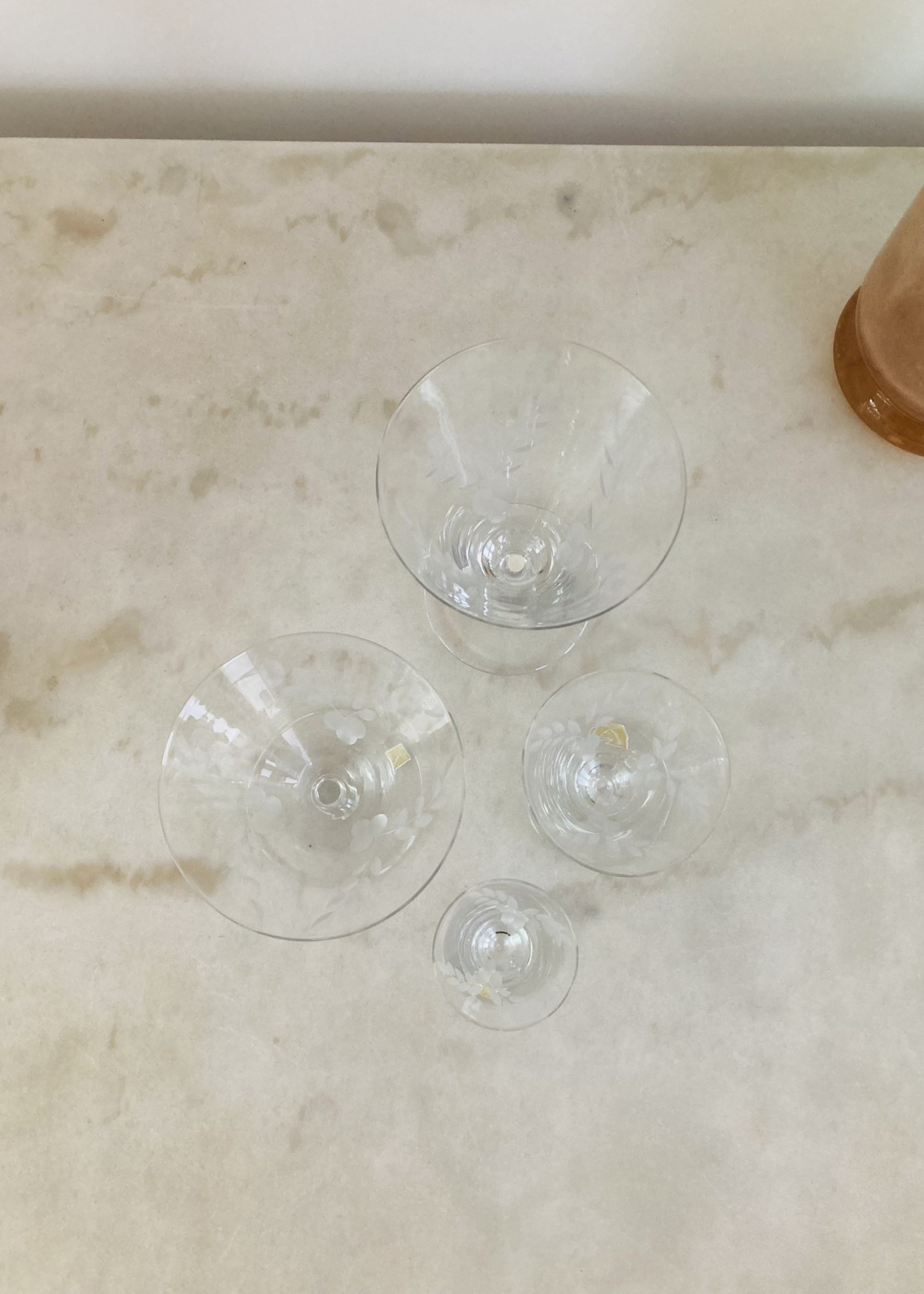 VB Carved crystal conic Champagne coupes from VB Boussu