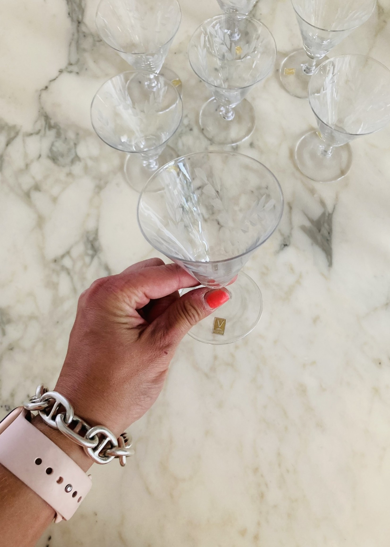 VB Carved crystal conic small Wine glasses from VB Boussu