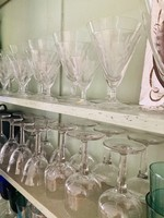 VB SET OF 9 Carved crystal conic mini alcohol glasses from VB Boussu