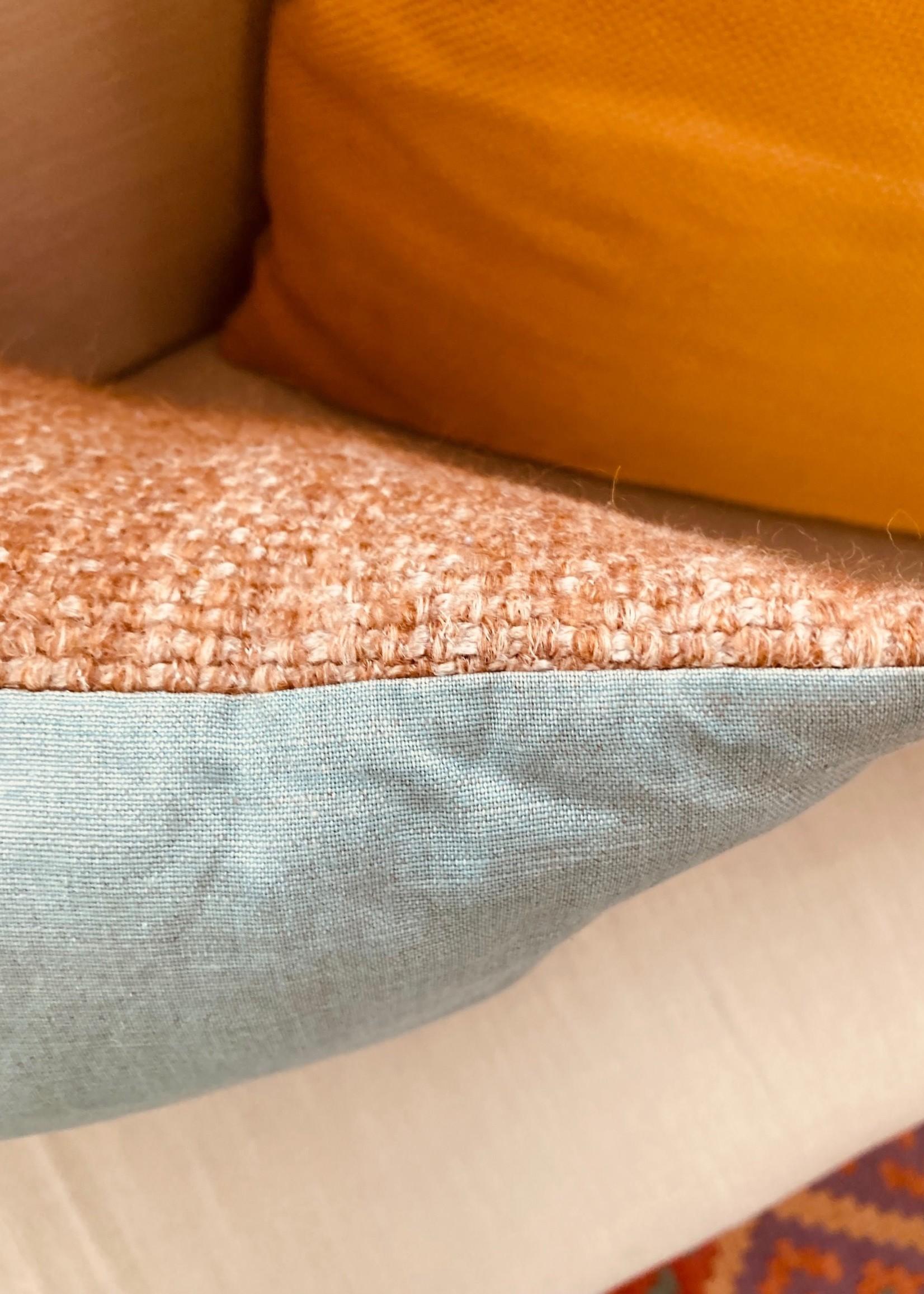 Linnen Cushionslope Custard Blue and brown