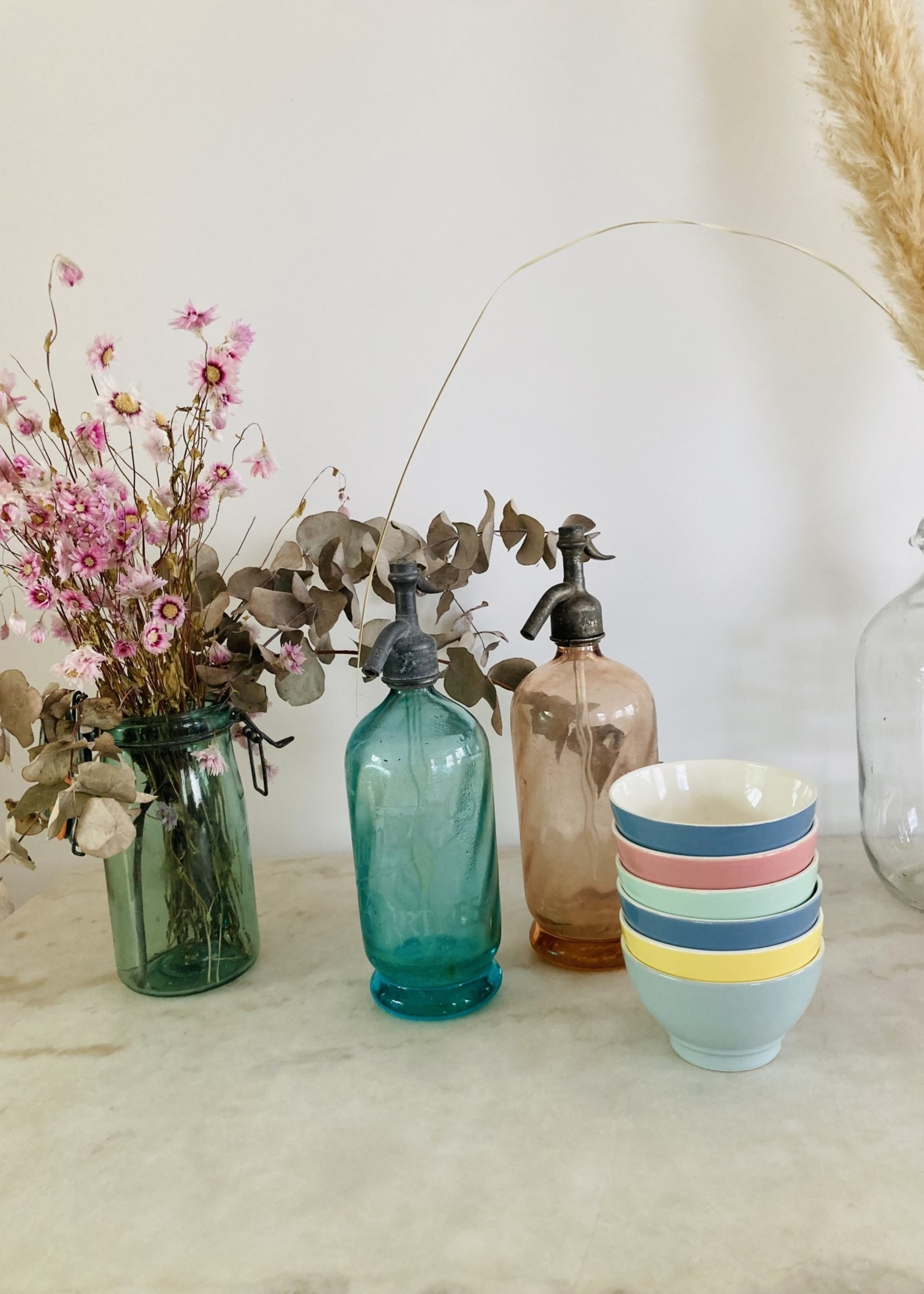 Antique Siphon for lemonade in blue green  glass