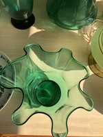 Art Deco Doyen Vase Green with waved glass