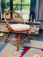 Seventies Rattan  and bamboo chair with white cushion
