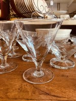 Large water glass conic shaped with carved plant and squares in glass