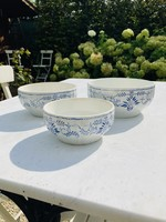 Antique nesting bowl from Boch with blue decoration (Lot of 3)