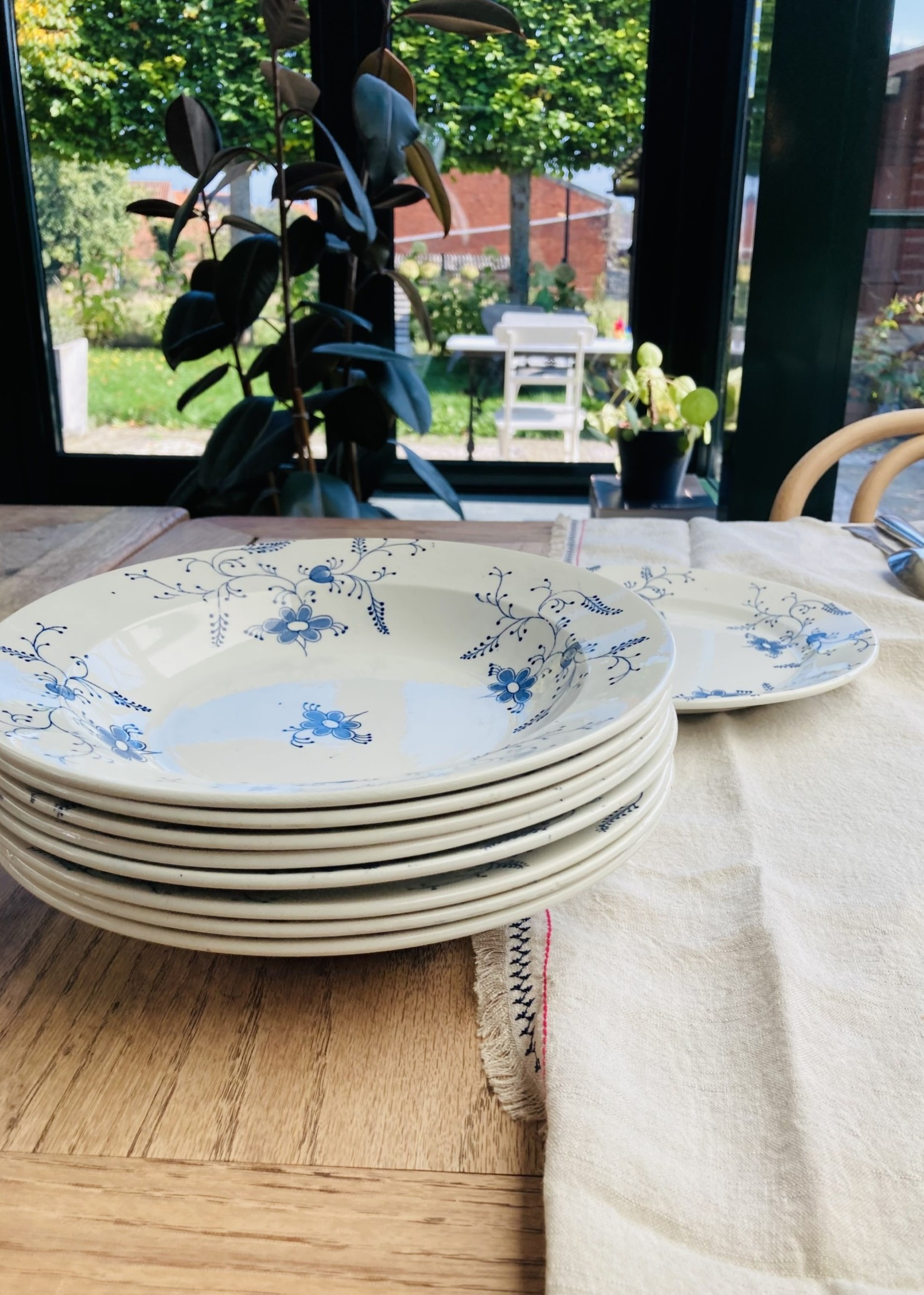 Deep plate from Nimy with blue decor