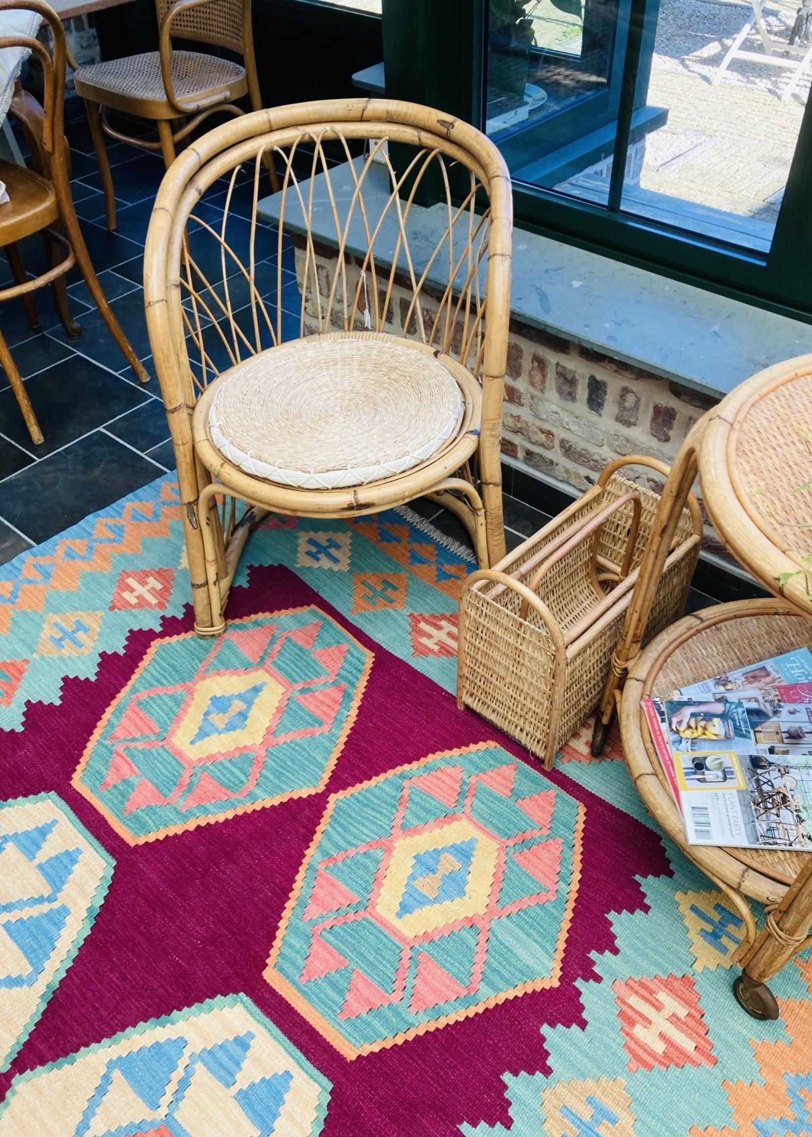 Round wicker/rattan chair/armchair 60's