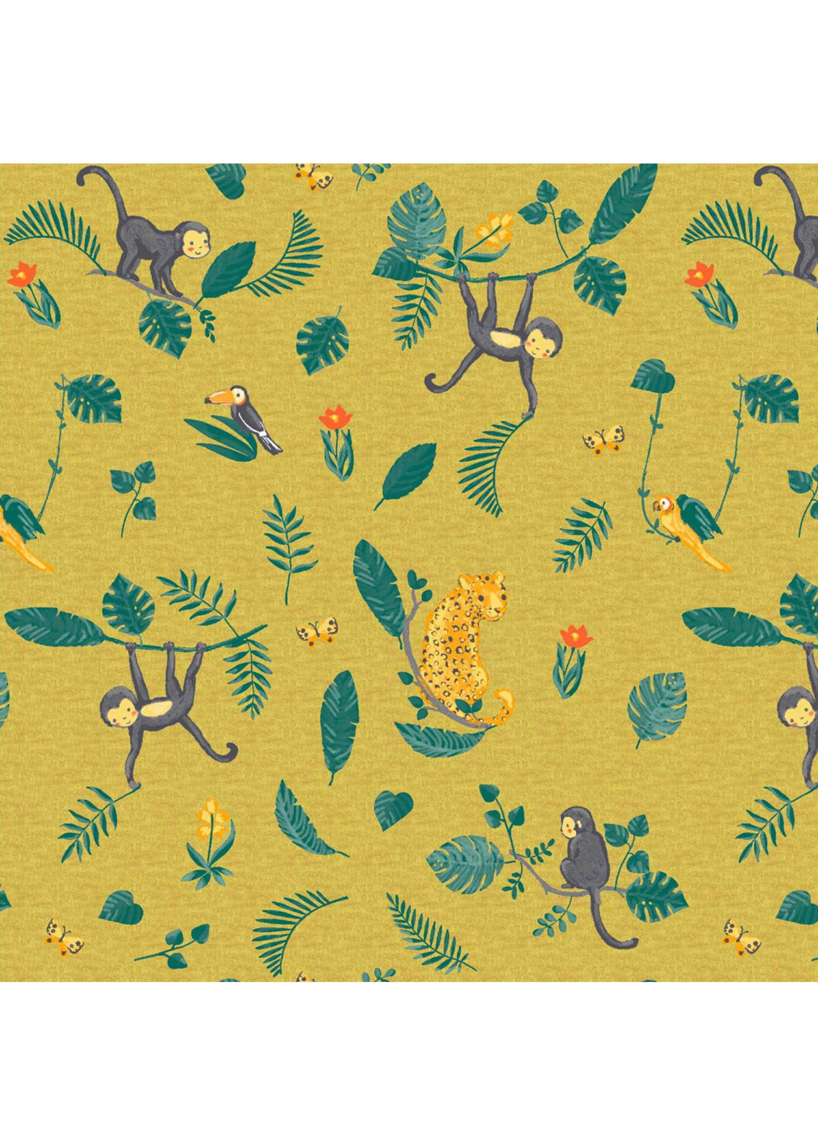 Designed for you by Poppy Jersey GOTS Digital Swinging Monkeys