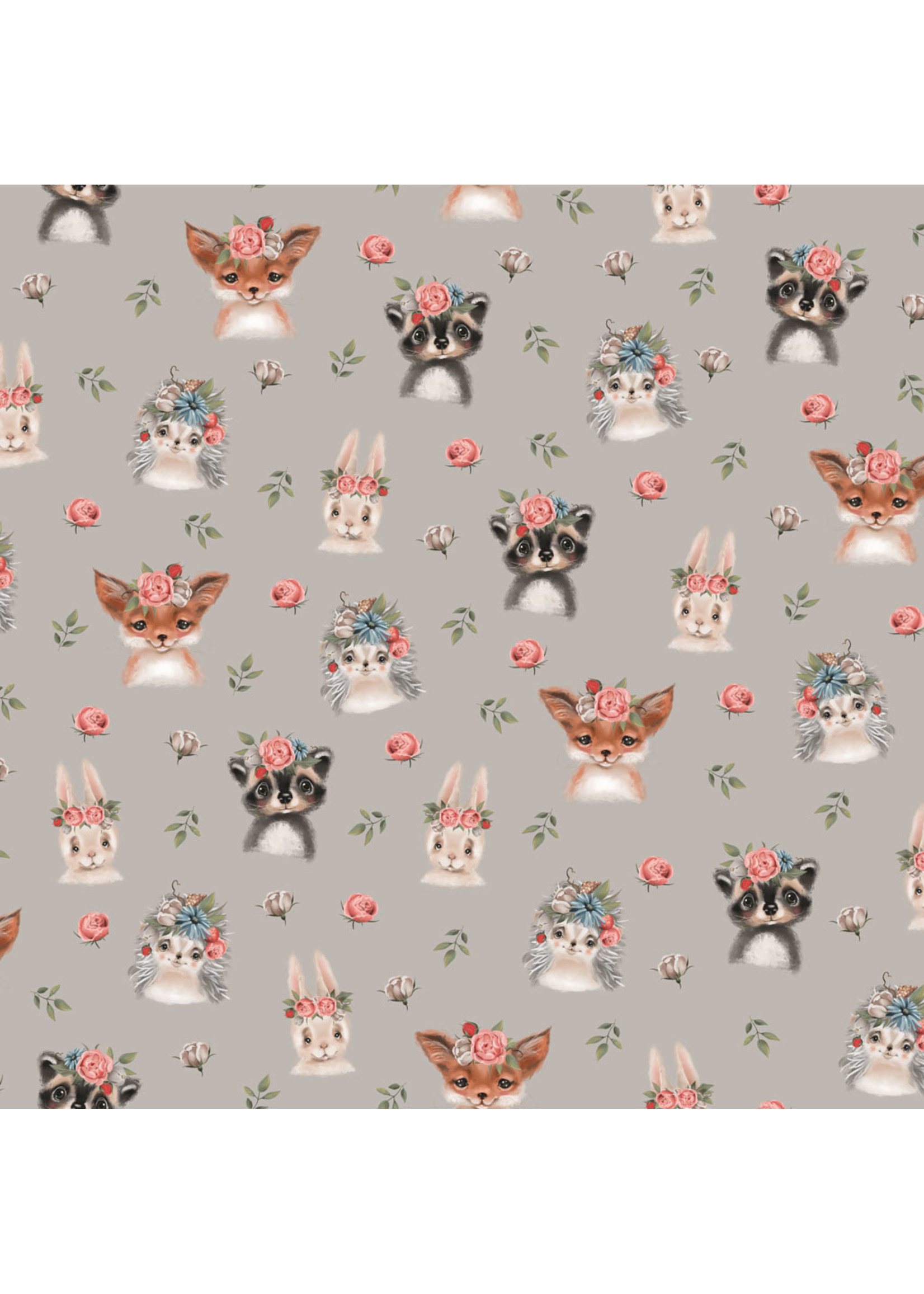 Designed for you by Poppy Jersey GOTS Digital Woodland Animals