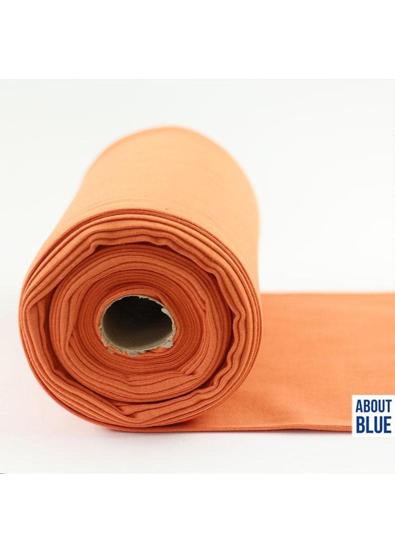 About Blue Fabrics Uni 10 Coral Gold Ribbing