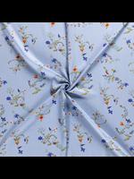 Nooteboom Textiles Viscose bloemen lichtblauw