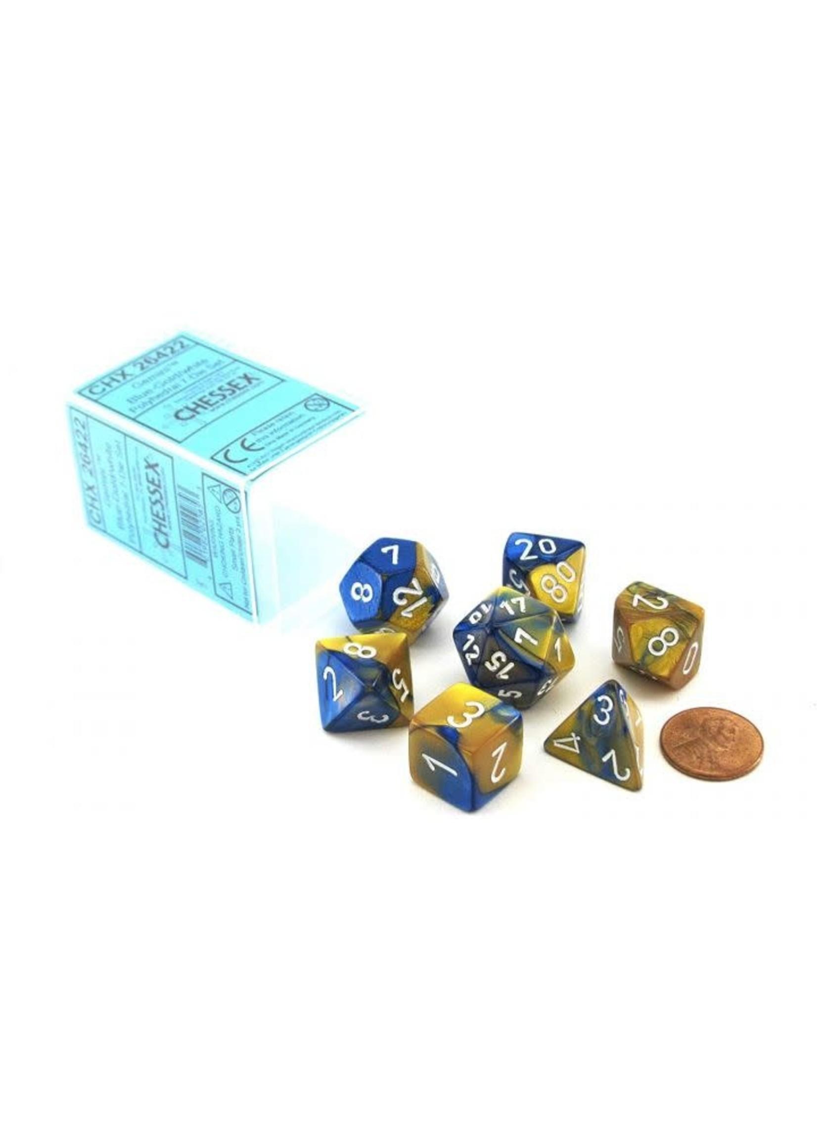 Gemini Polyhedral 7-Die Sets - Blue-Gold W/White