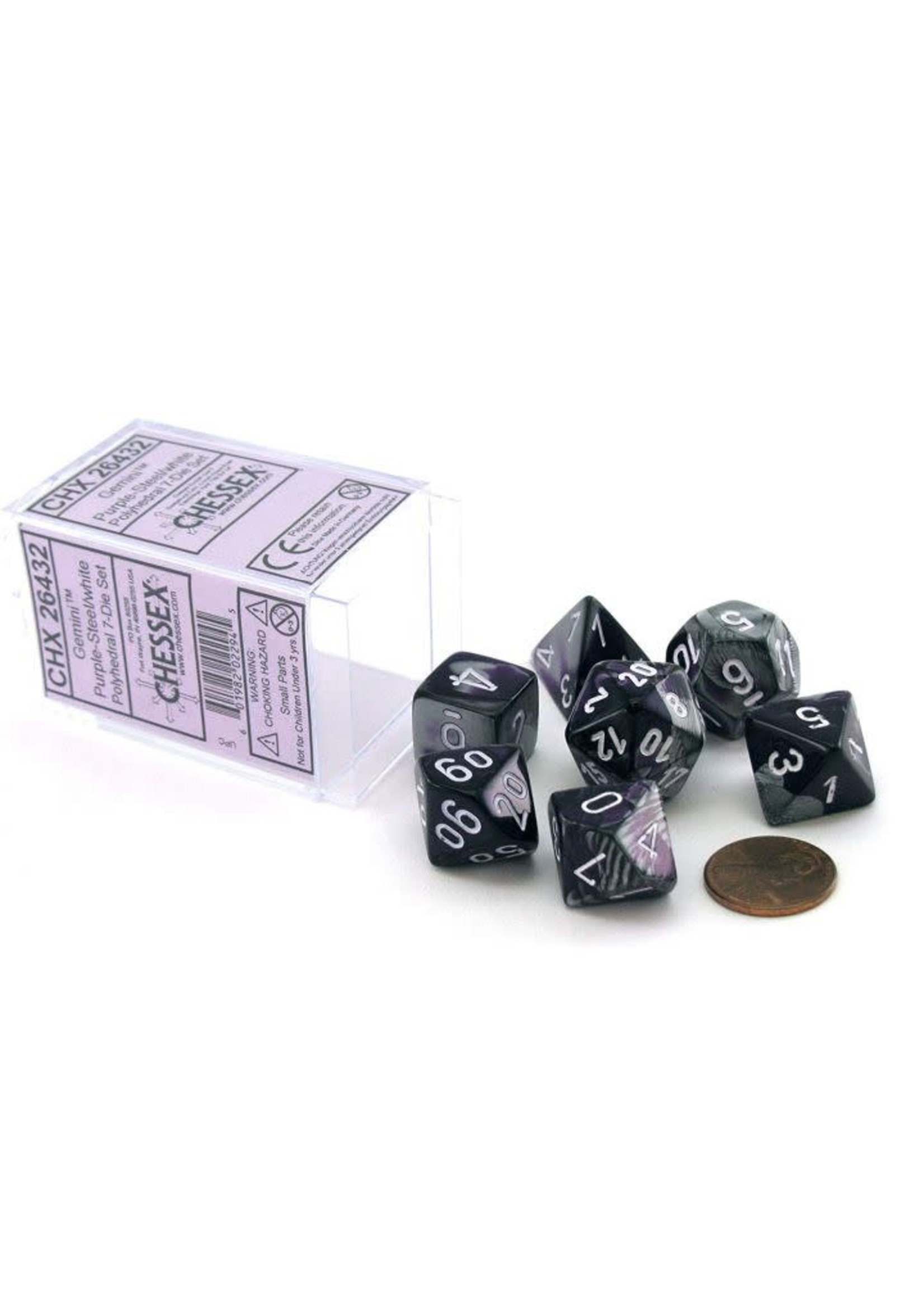 Gemini Polyhedral 7-Die Sets - Purple-Steel W/White