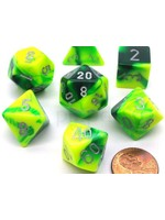 Gemini Polyhedral 7-Die Sets - Green-Yellow W/Silver