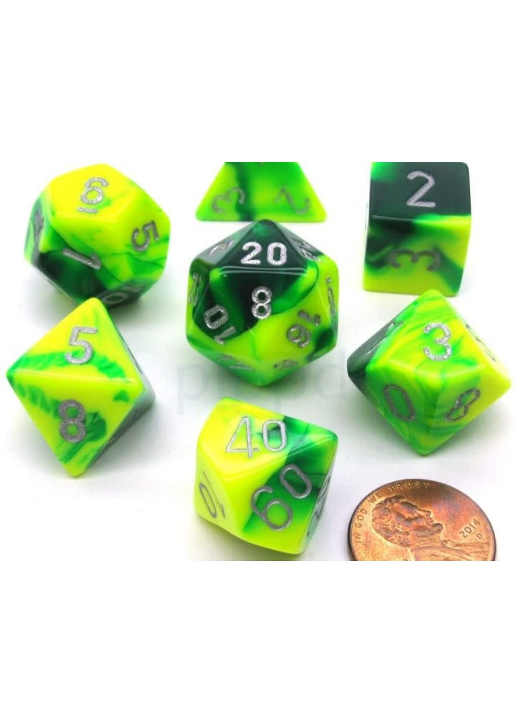 Gemini Polyhedral 7-Die Sets - Green-Yellow W/Silver