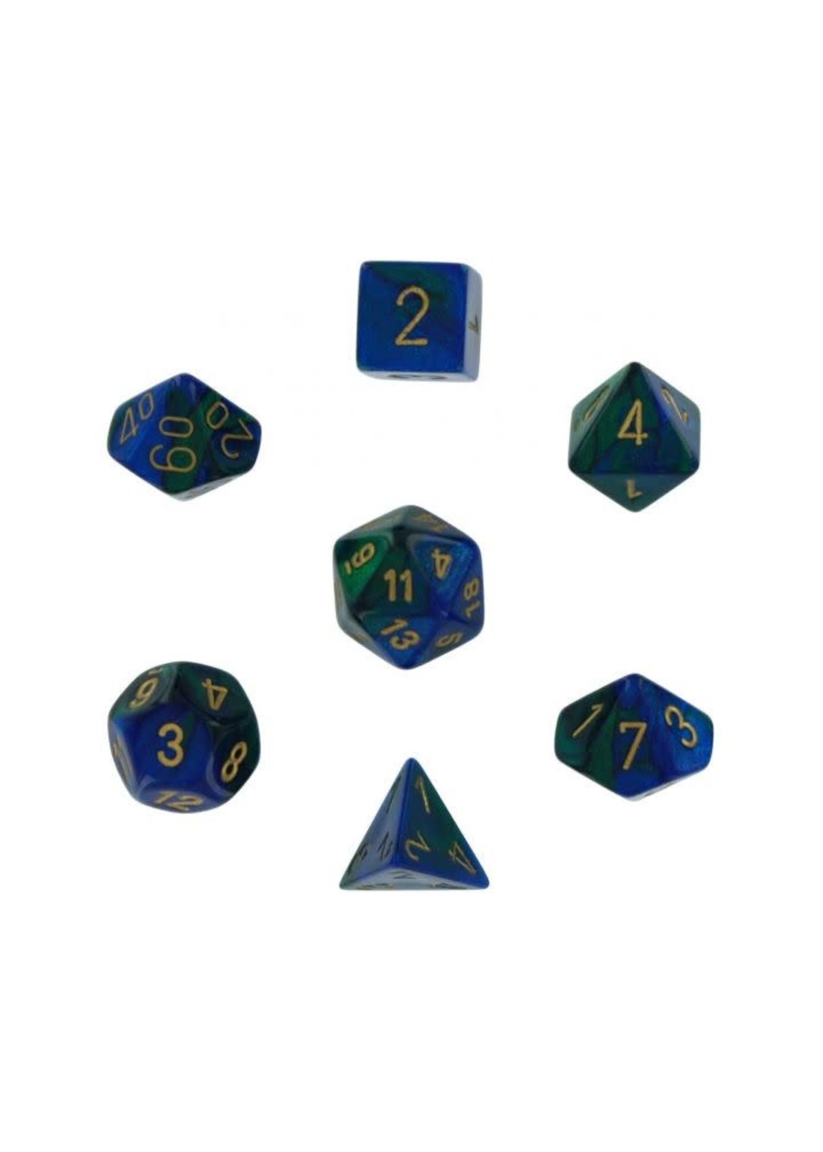 Gemini Polyhedral 7-Die Sets - Blue-Green W/Gold