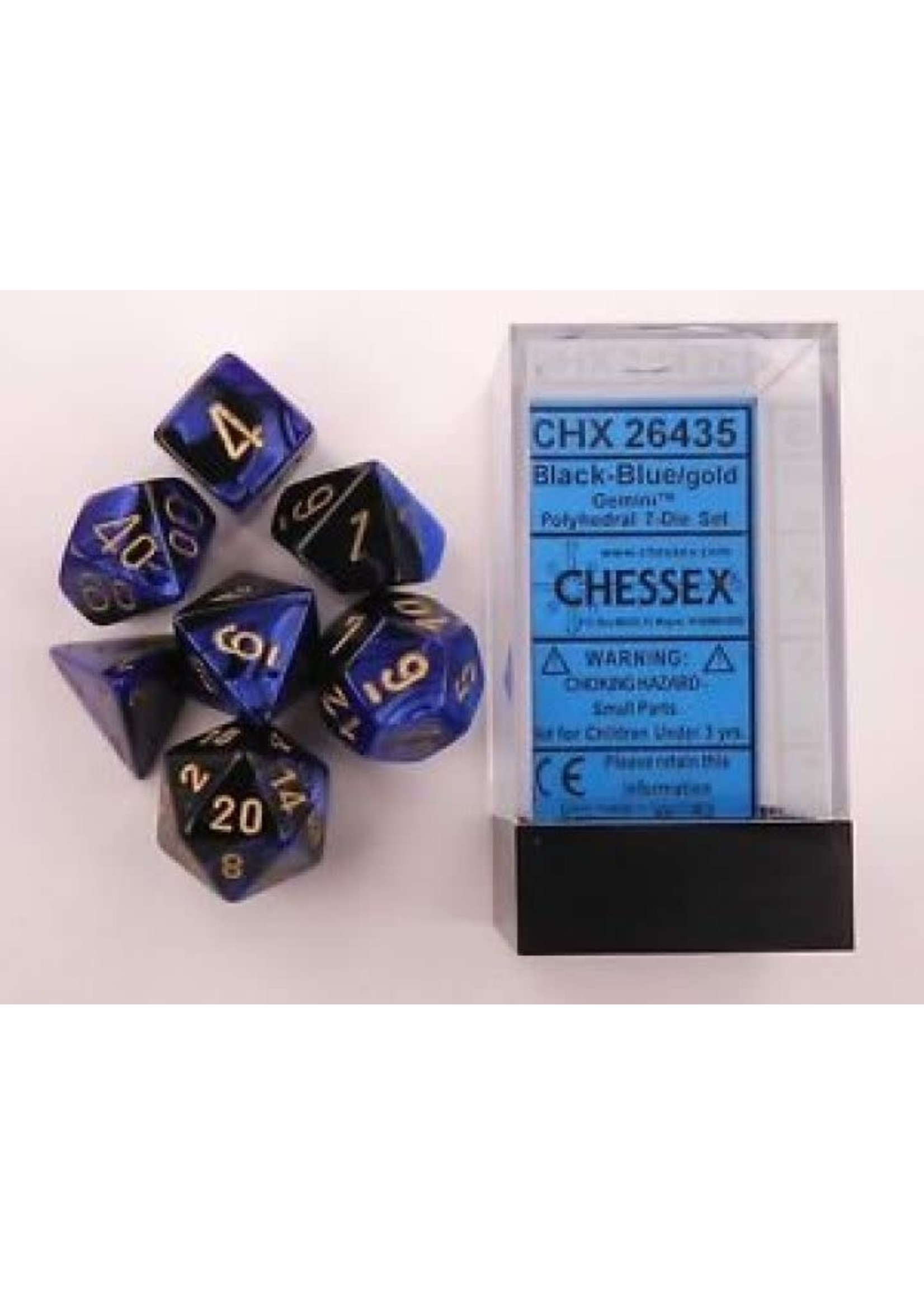 Gemini Polyhedral 7-Die Sets - Black-Blue W/Gold