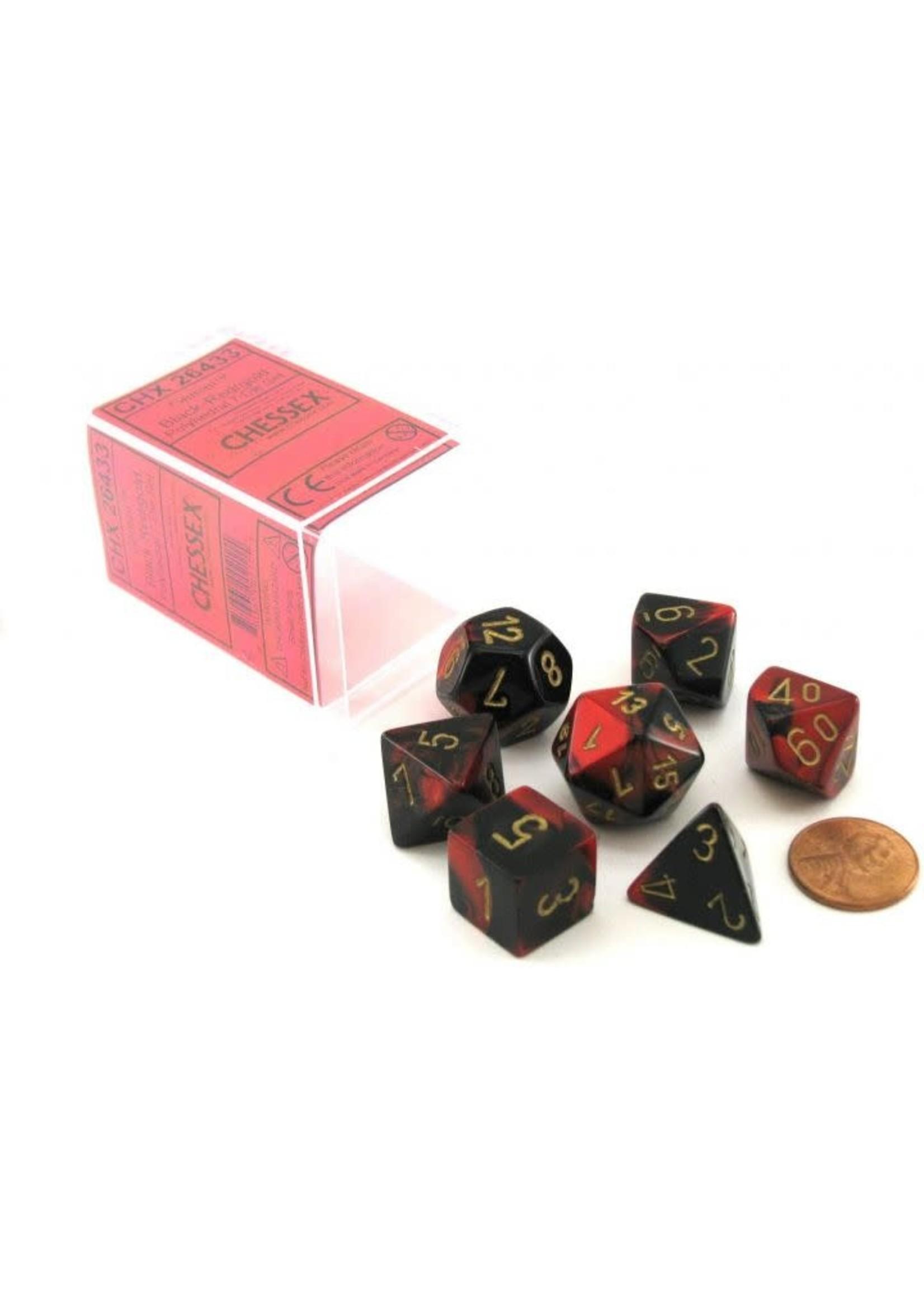 Gemini Polyhedral 7-Die Sets - Black-Red W/ Gold