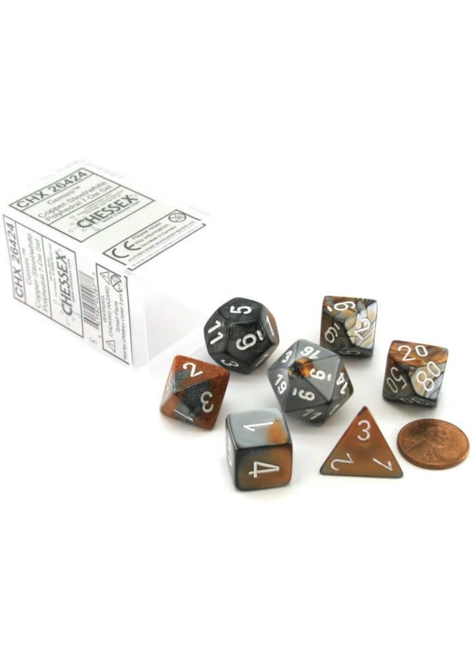 Gemini Polyhedral 7-Die Sets - Copper-Steel W/White