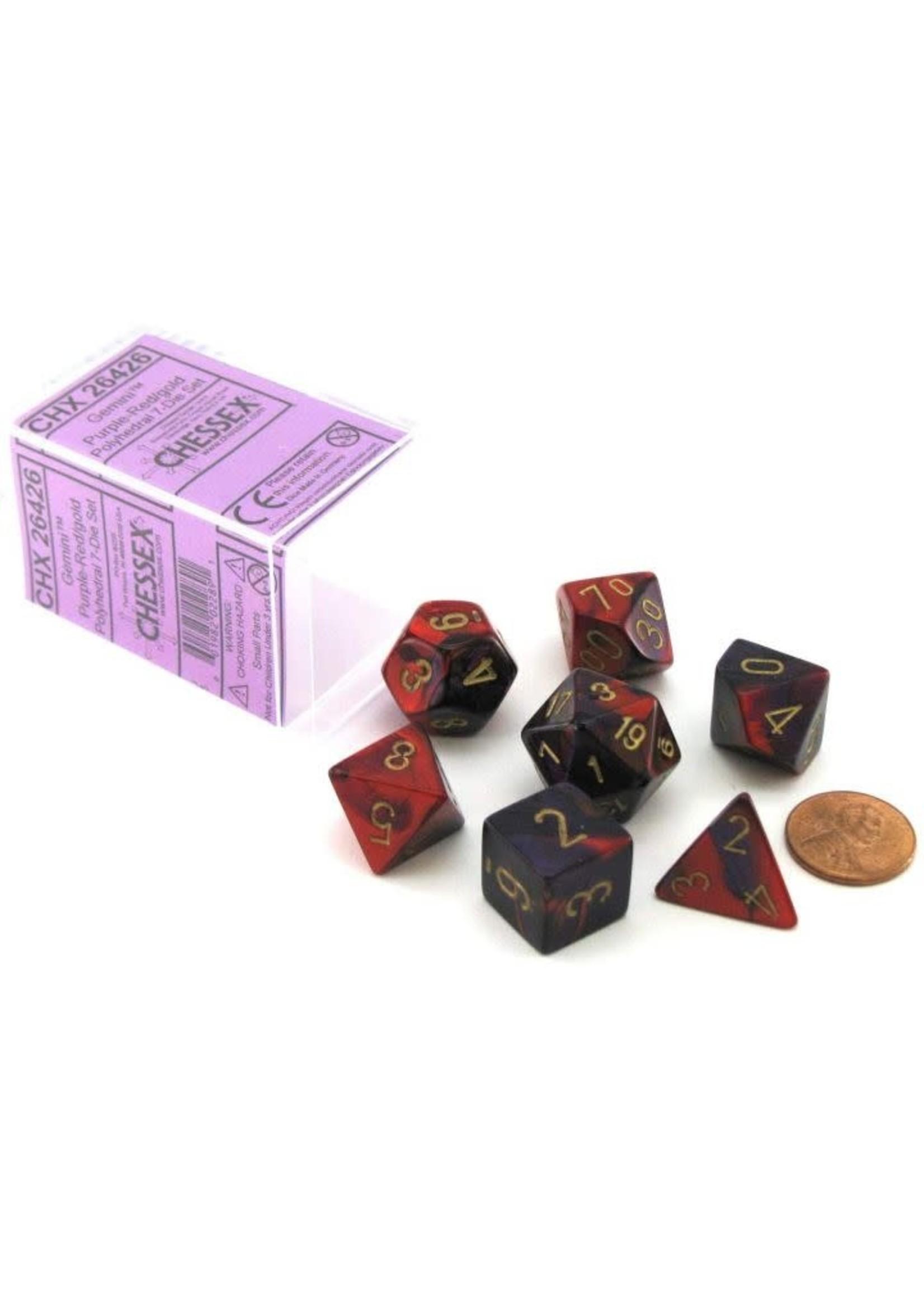 Gemini Polyhedral 7-Die Sets - Purple-Red W/Gold