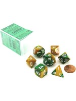 Gemini Polyhedral 7-Die Sets - Gold-Green W/White