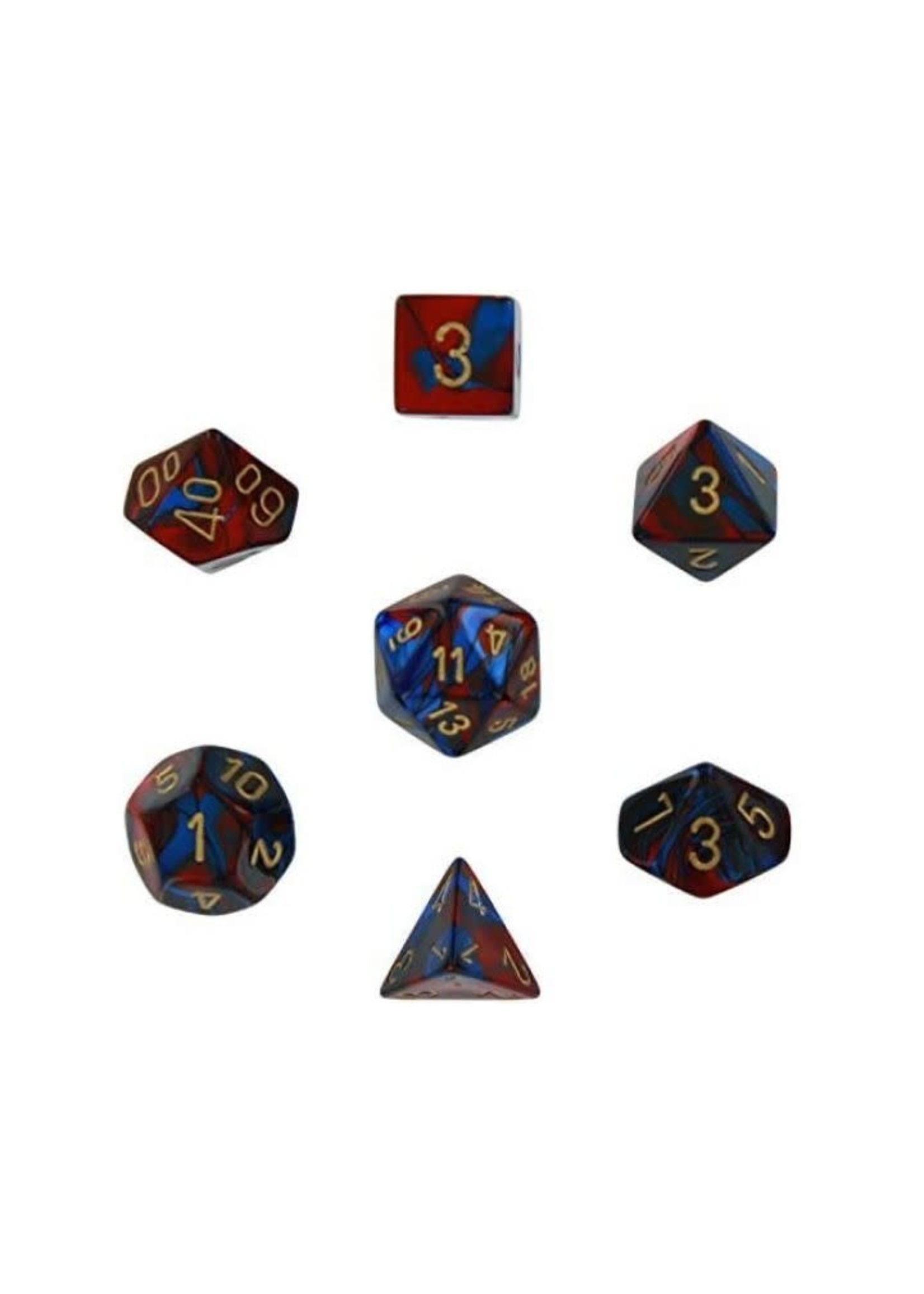 Gemini Polyhedral 7-Die Sets - Blue-Red W/ Gold