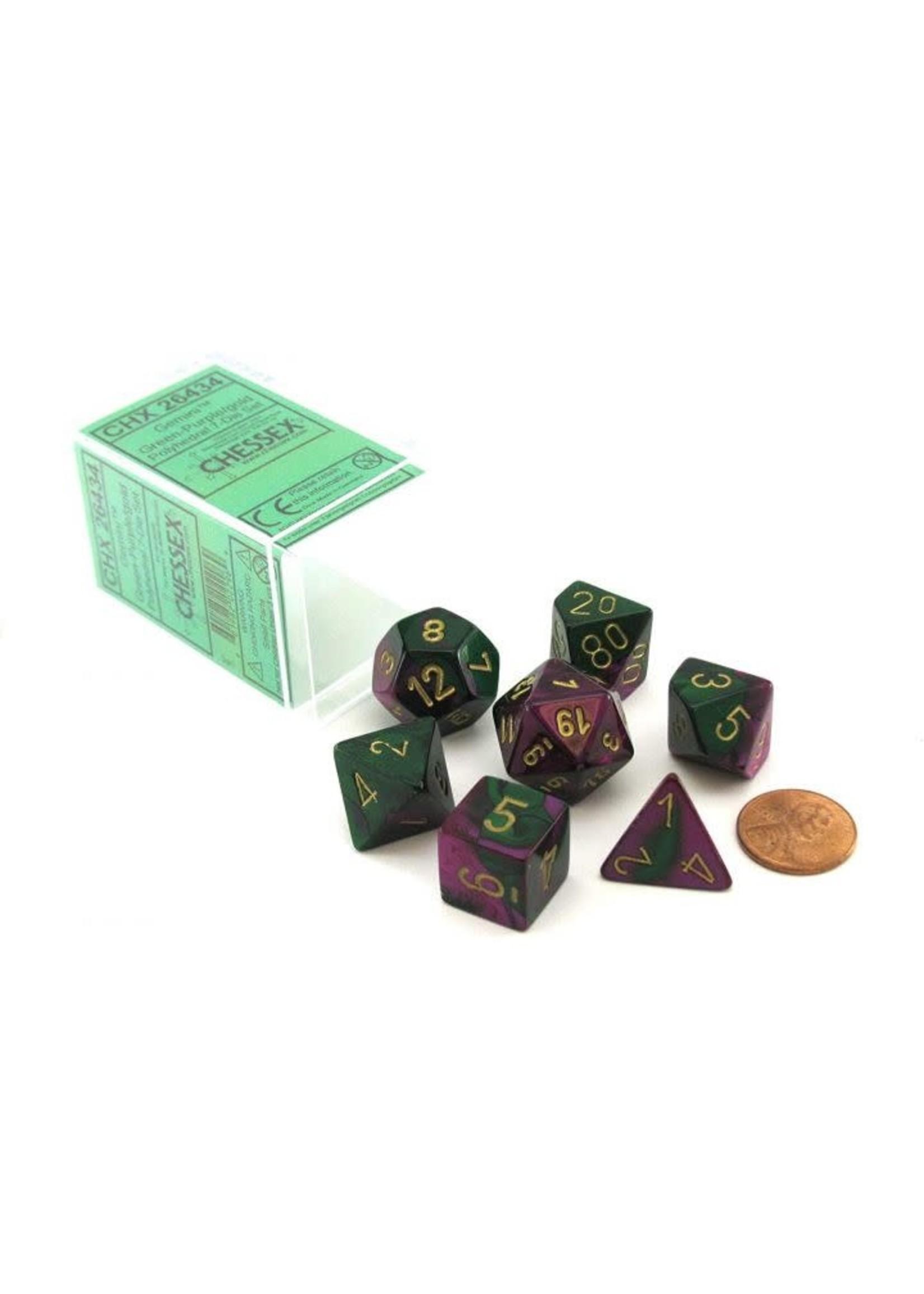 Gemini Polyhedral 7-Die Sets - Green-Purple W/Gold