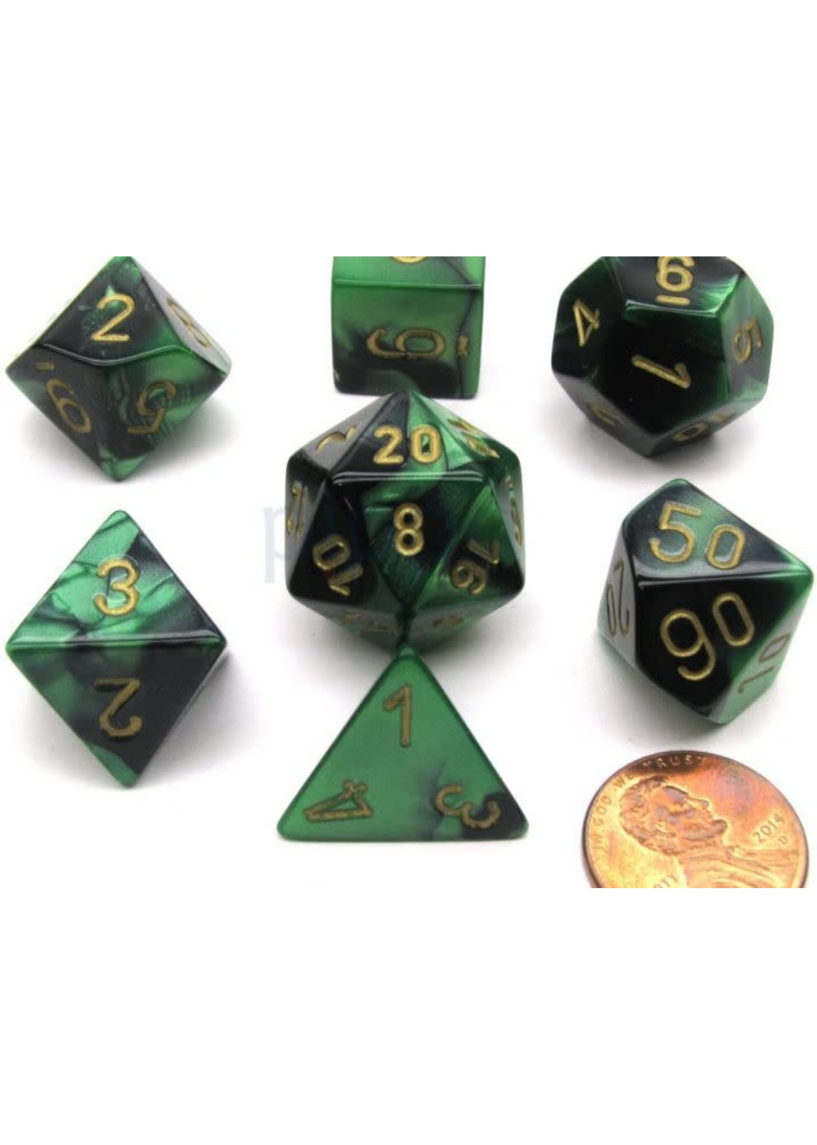 Gemini Polyhedral 7-Die Sets - Black-Green W/Gold