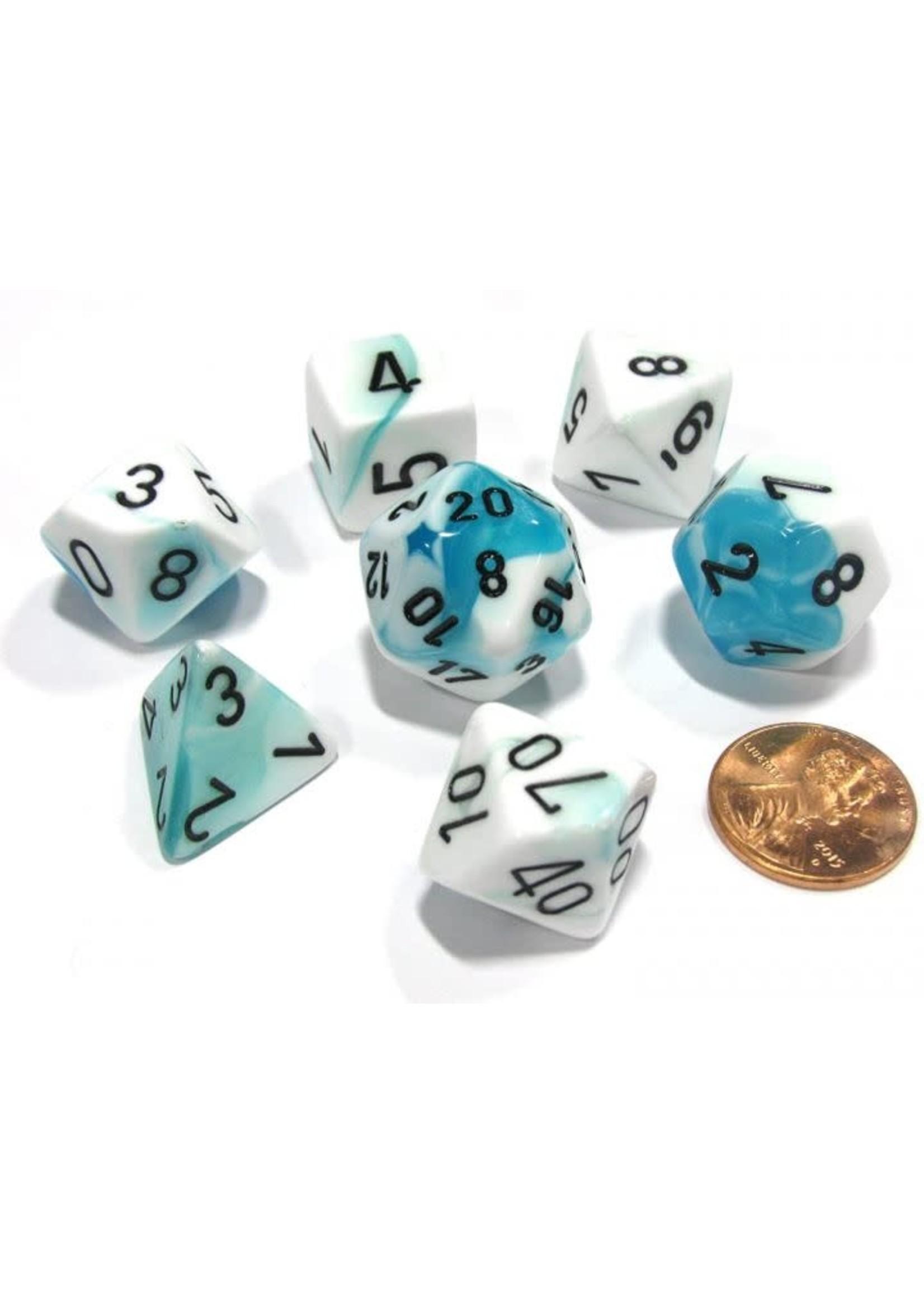 Gemini Polyhedral 7-Die Sets - White-Teal W/Black