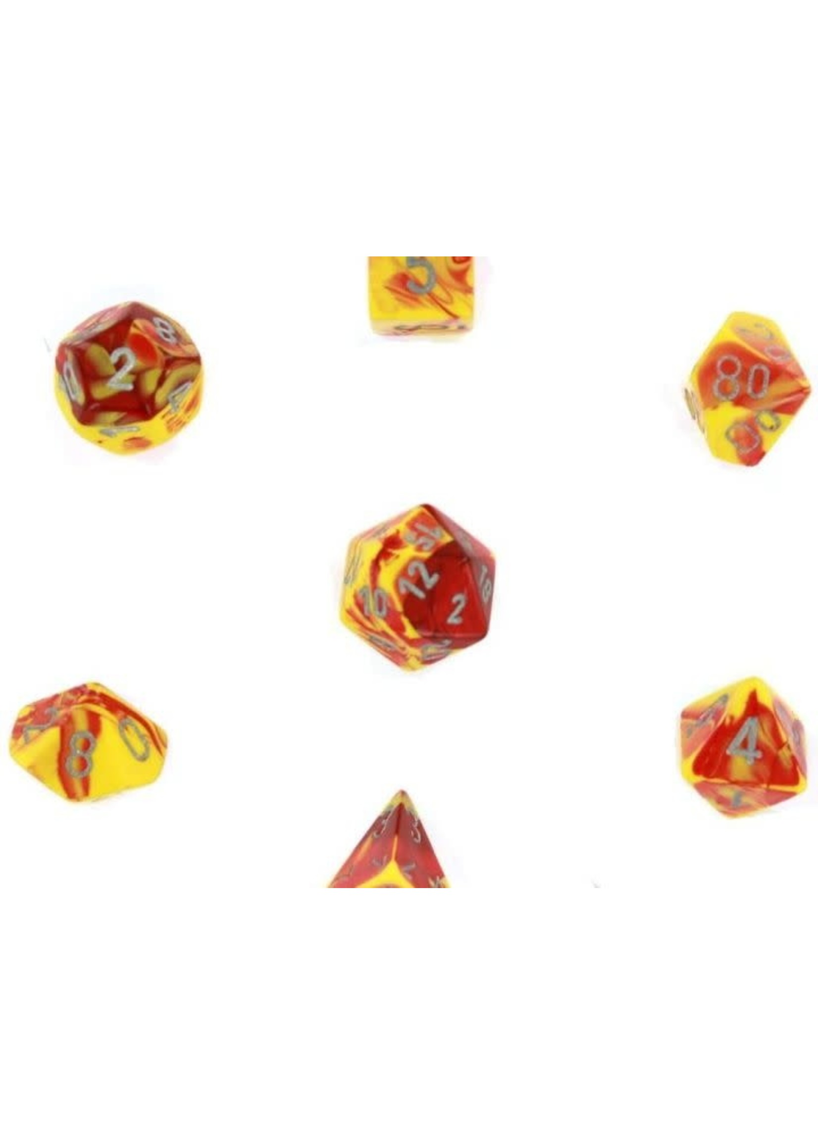 Gemini Polyhedral 7-Die Sets - Red-Yellow W/Silver