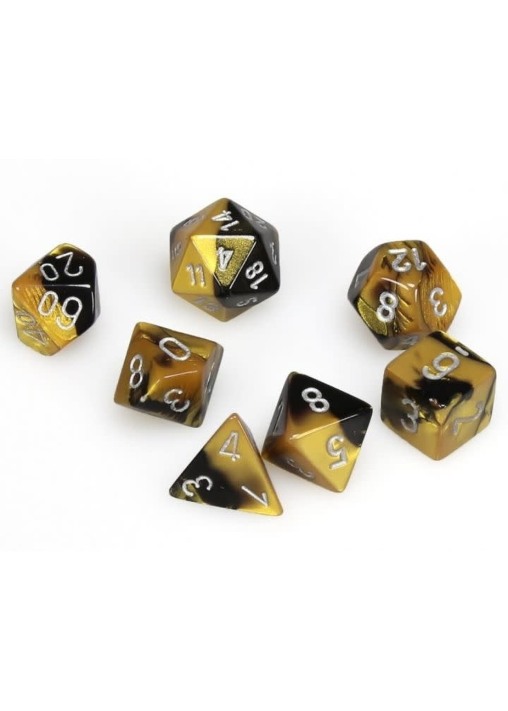 Gemini Polyhedral 7-Die Sets - Black-Gold W/Silver