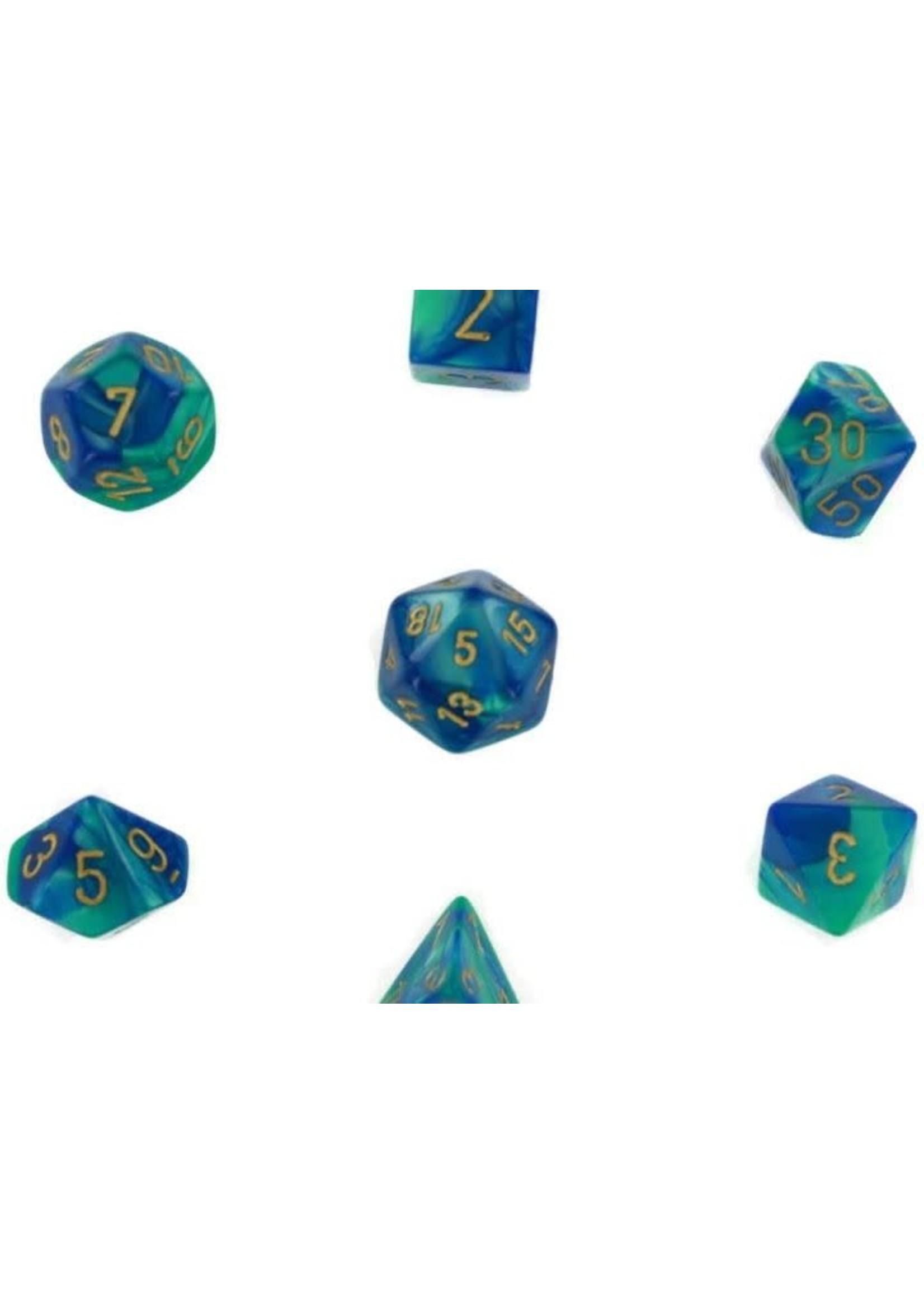 Gemini Polyhedral 7-Die Sets - Blue-Teal W/Gold