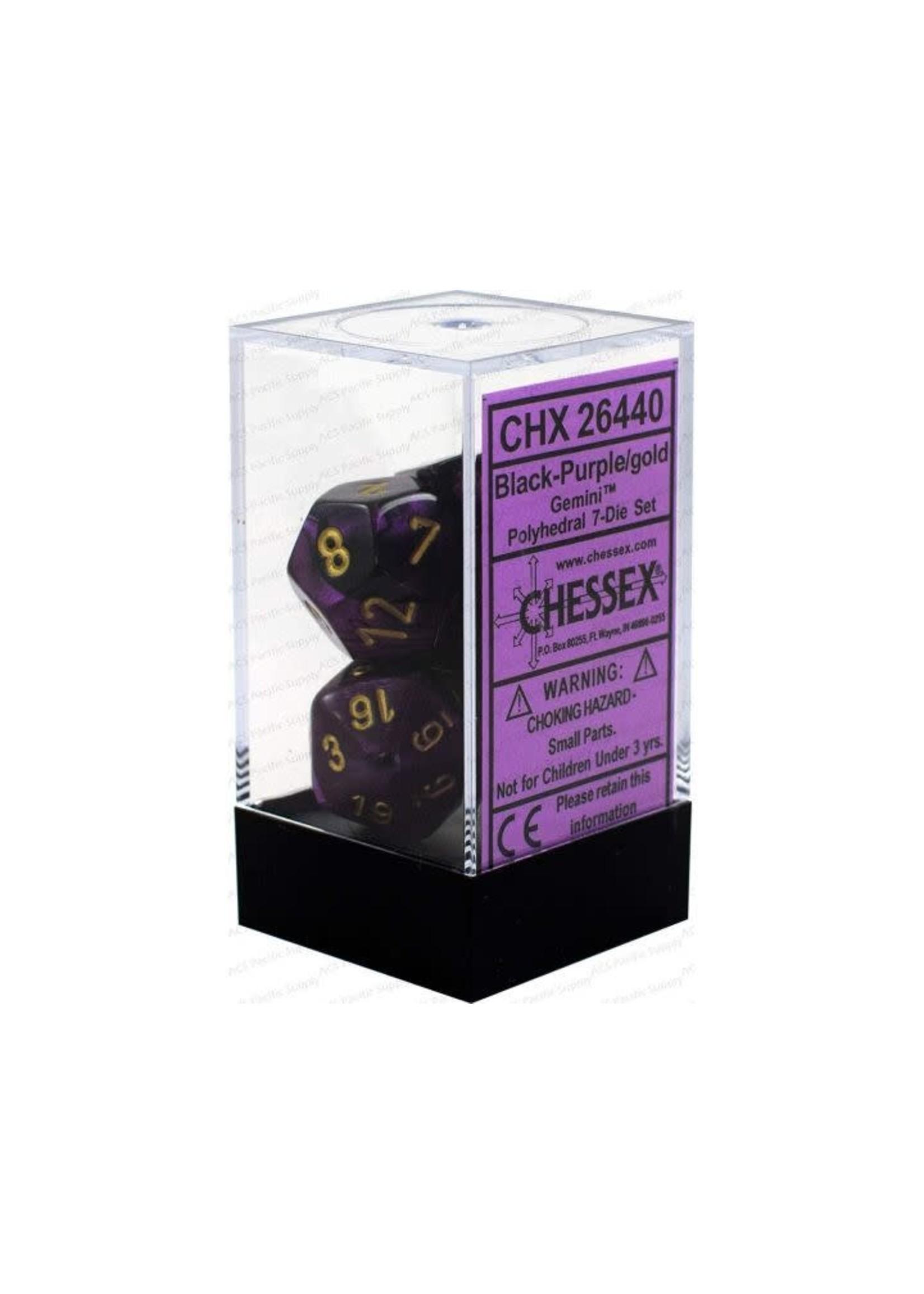 Gemini Polyhedral 7-Die Sets - Black-Purple W/Gold