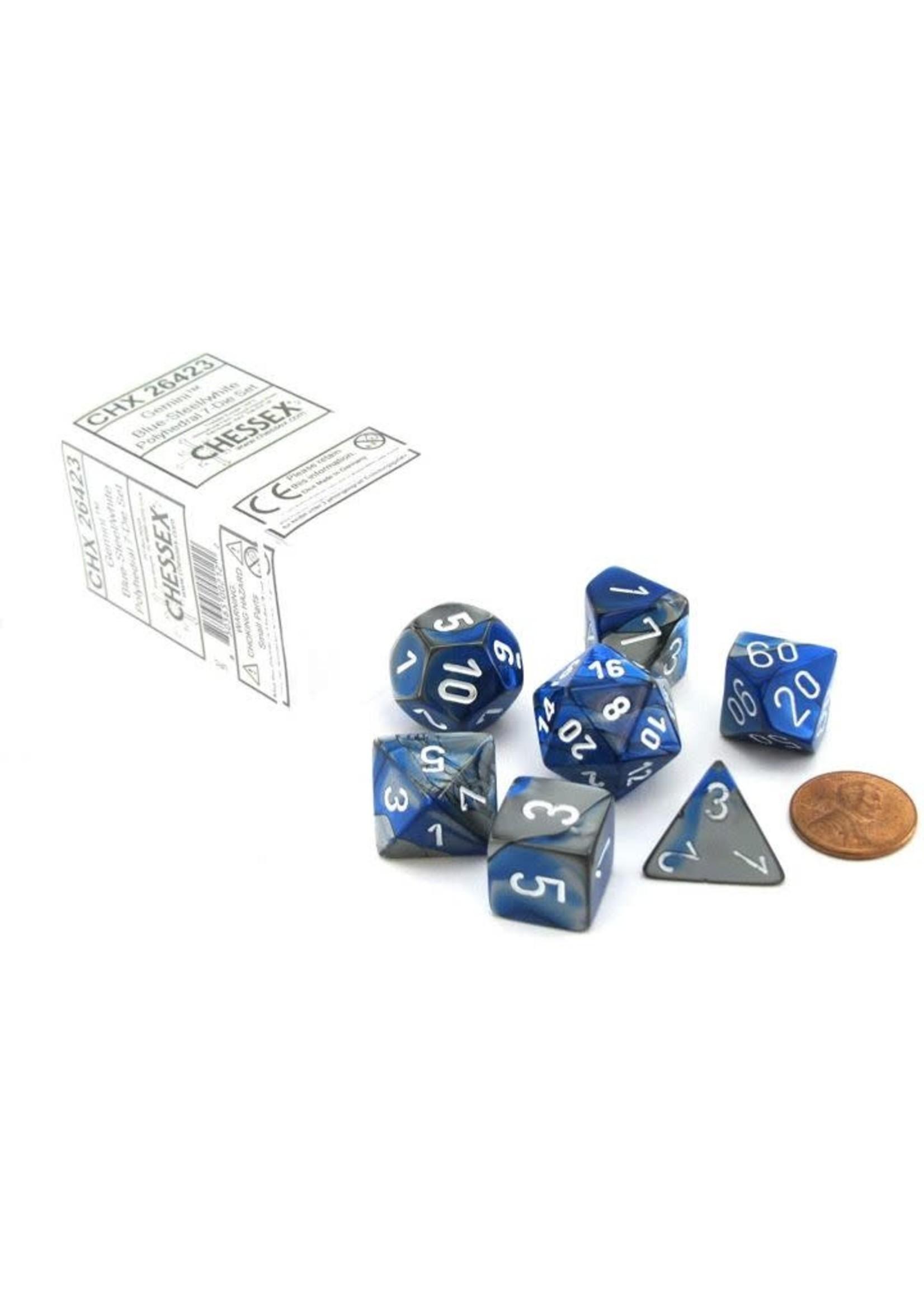 Gemini Polyhedral 7-Die Sets - Blue-Steel W/White