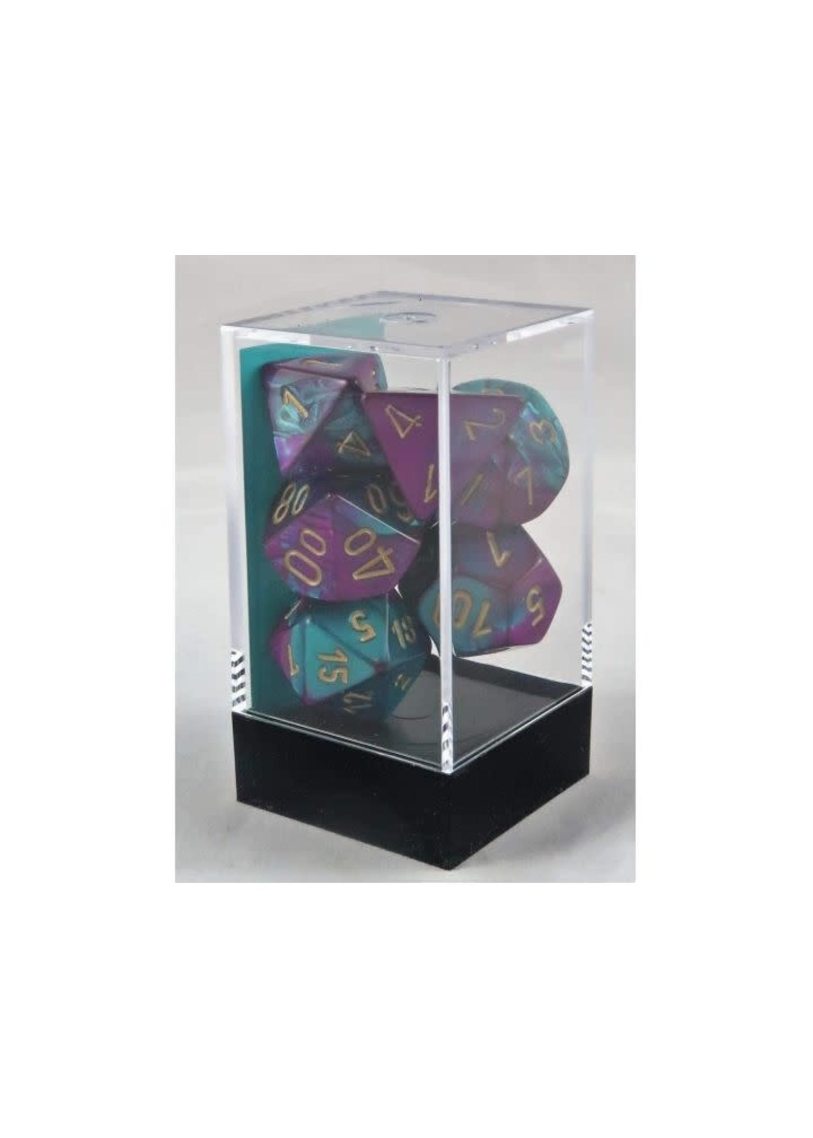 Gemini Polyhedral 7-Die Sets - Purple-Teal W/Gold